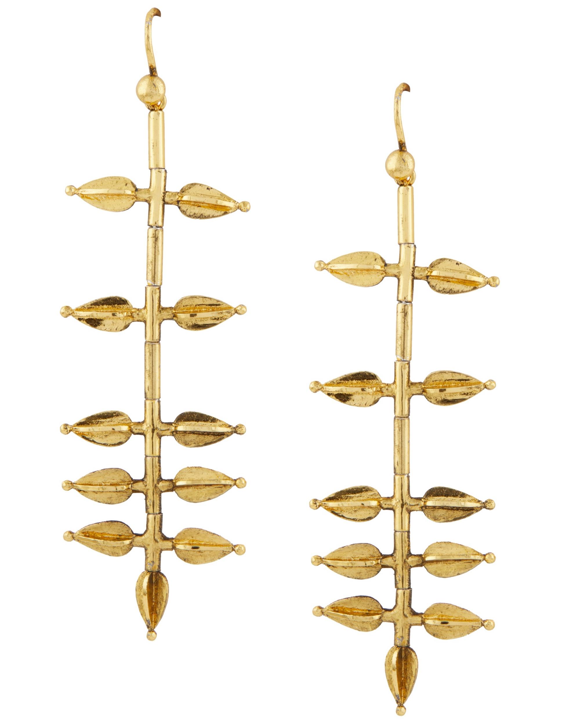 Jasmine bud-shaped gold plated  earrings