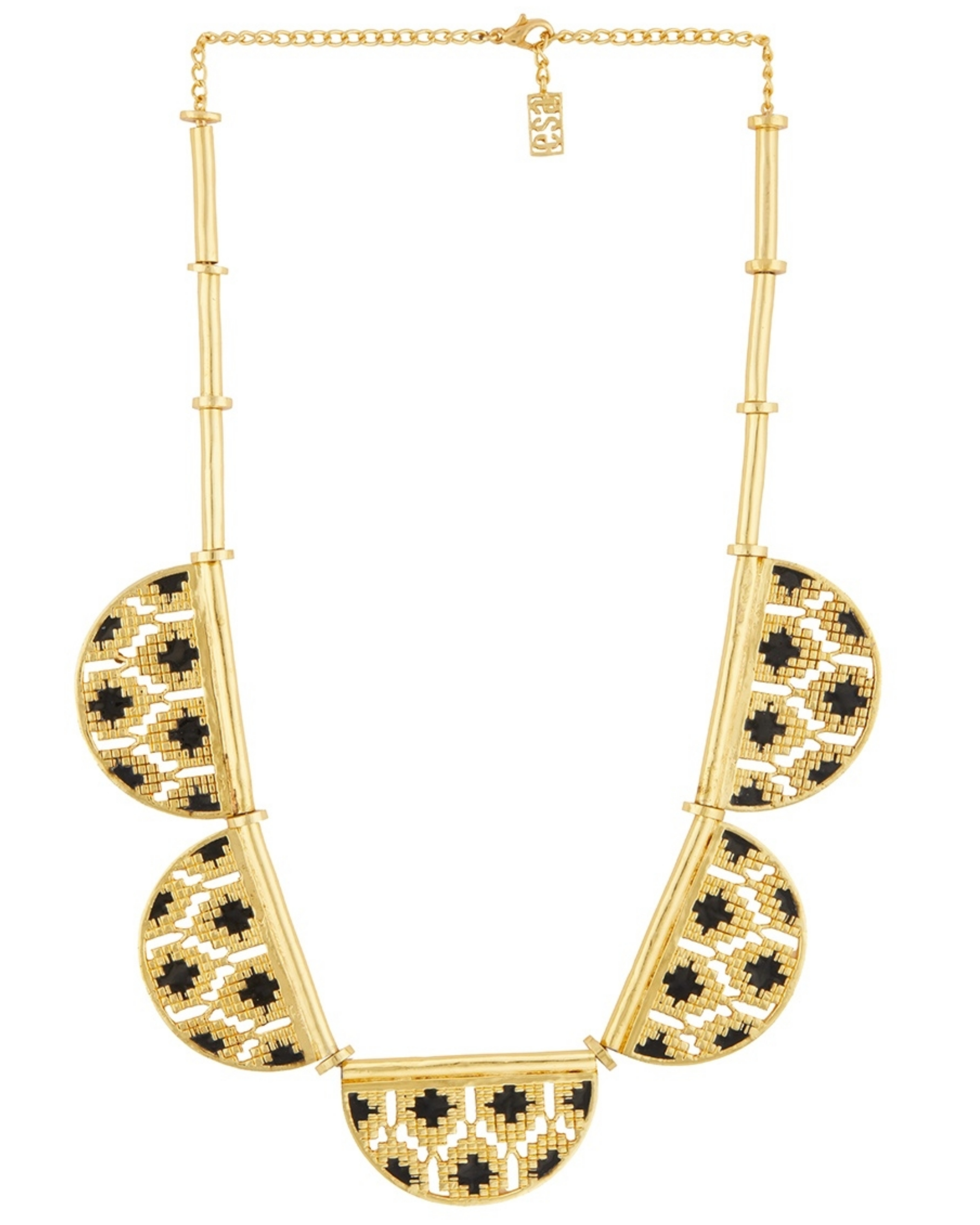 Black and gold half disc ikat  necklace