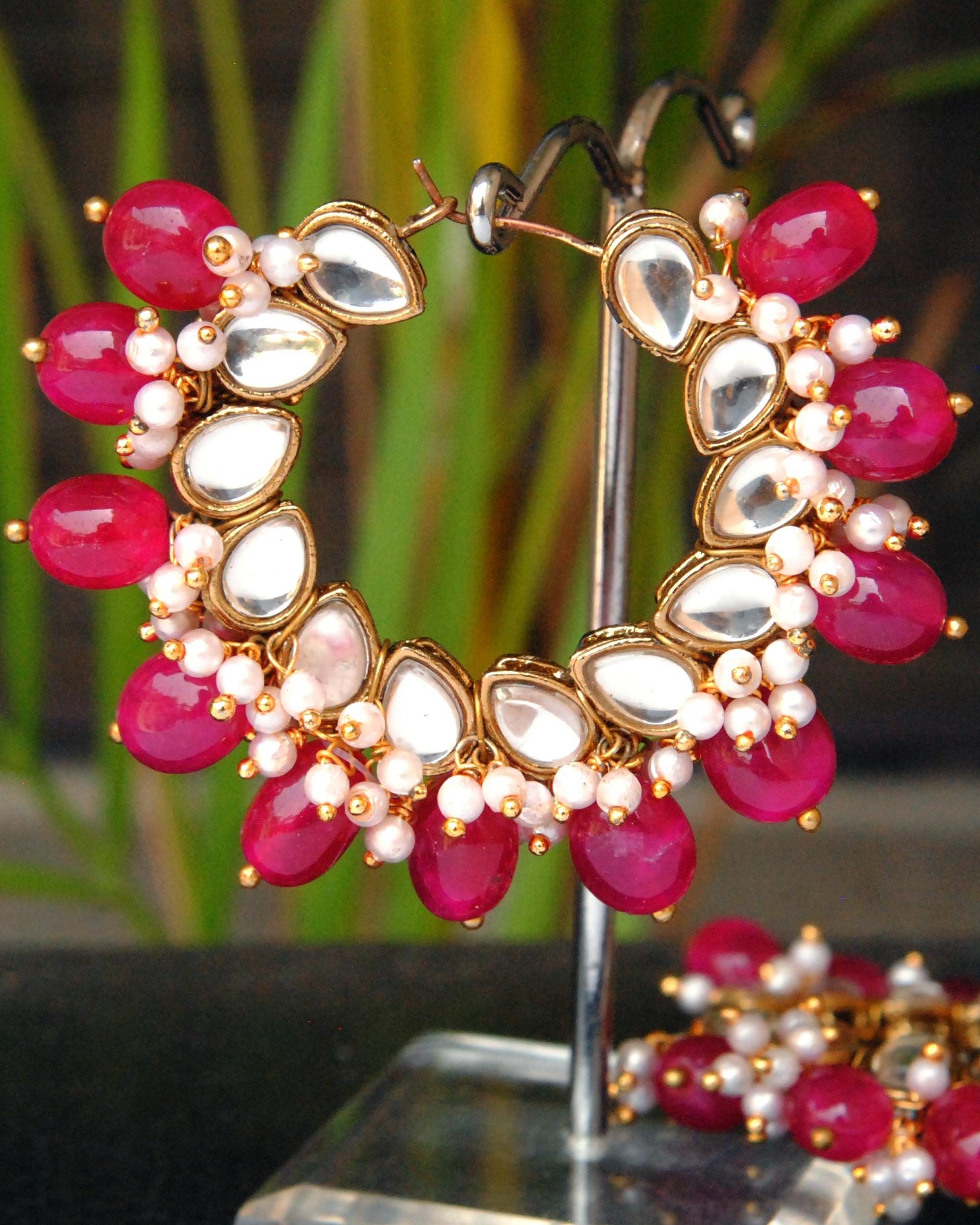 Cherry red hoop earrings
