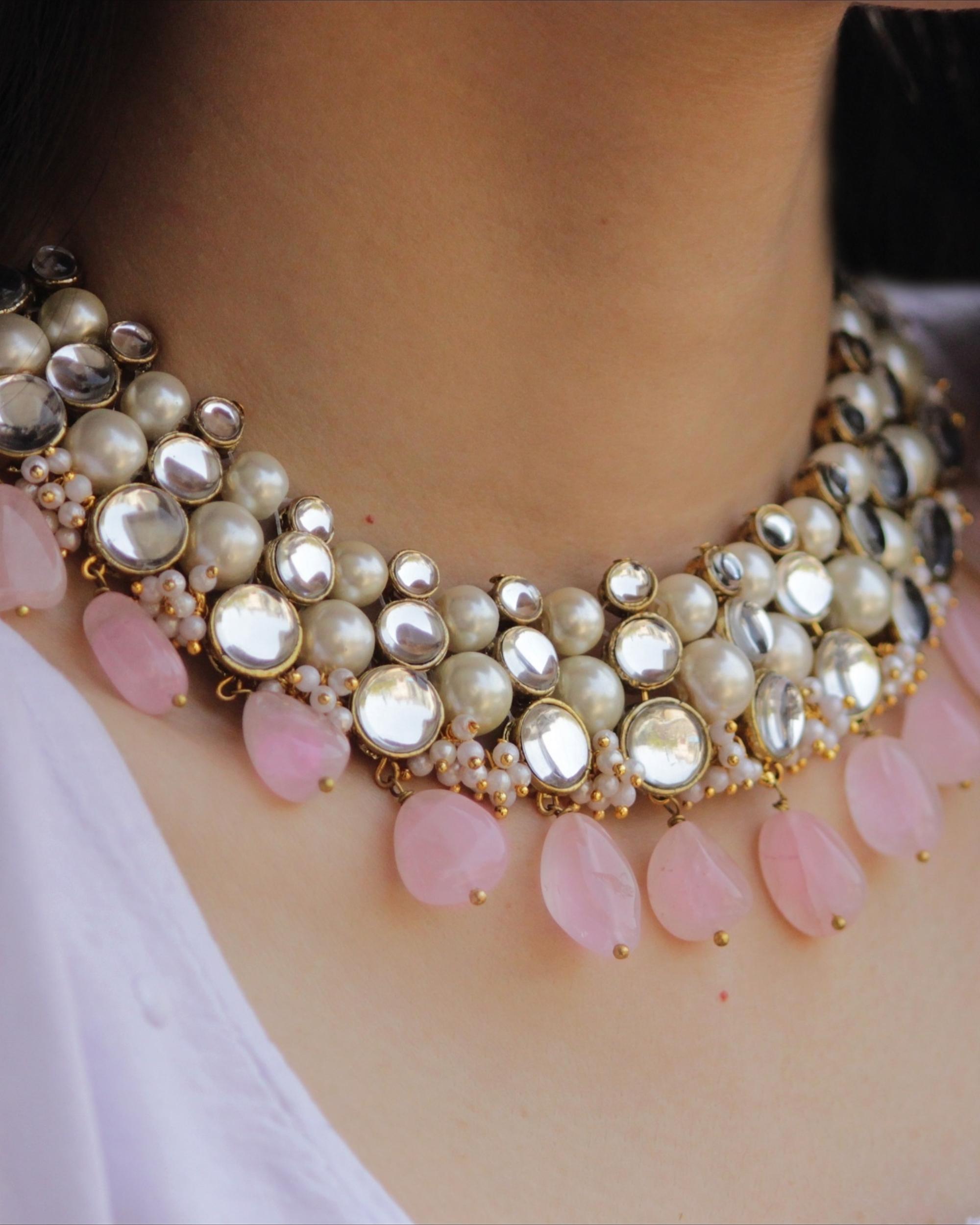 Baby pink kundan necklace