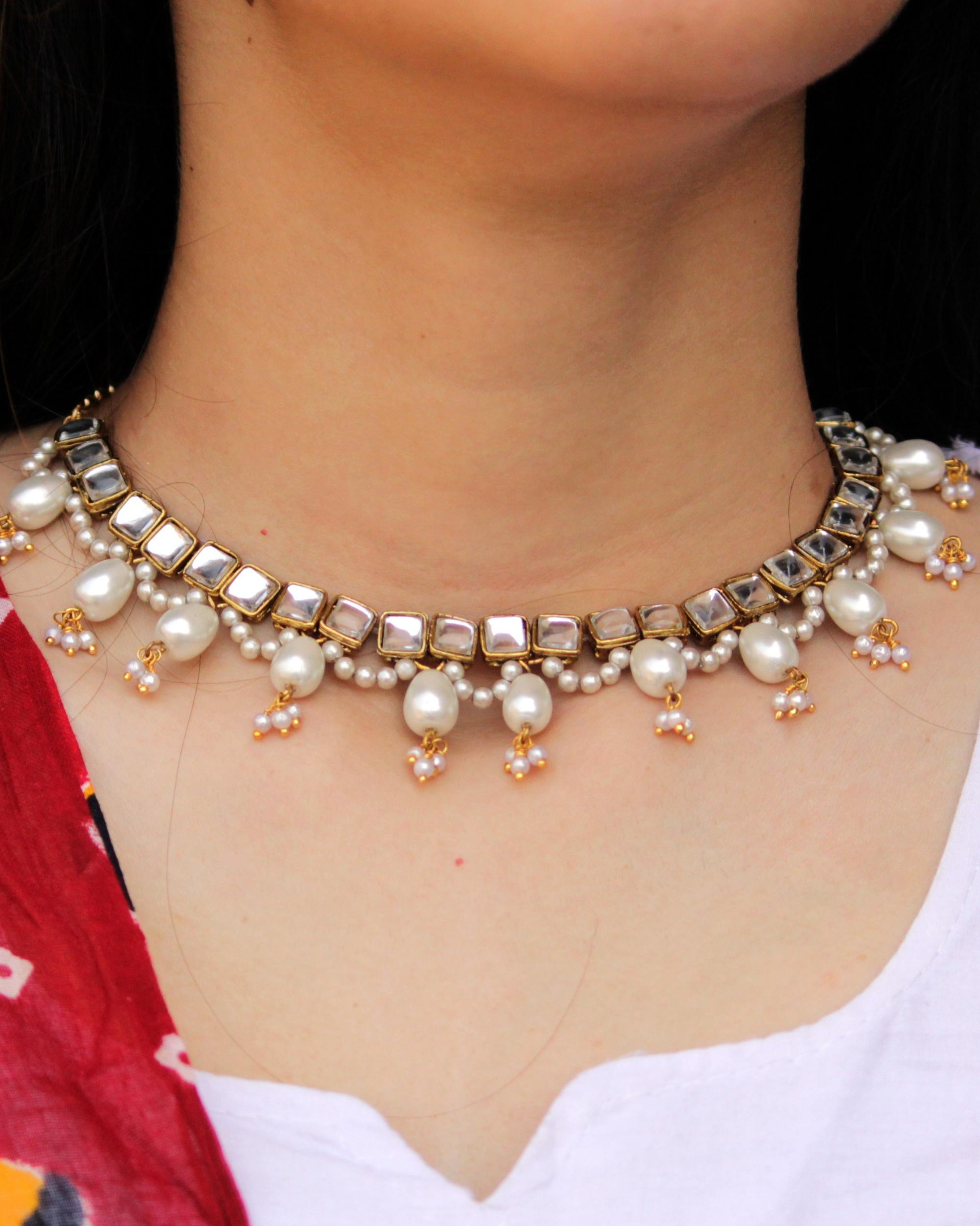Square kundan oval drop pearl necklace