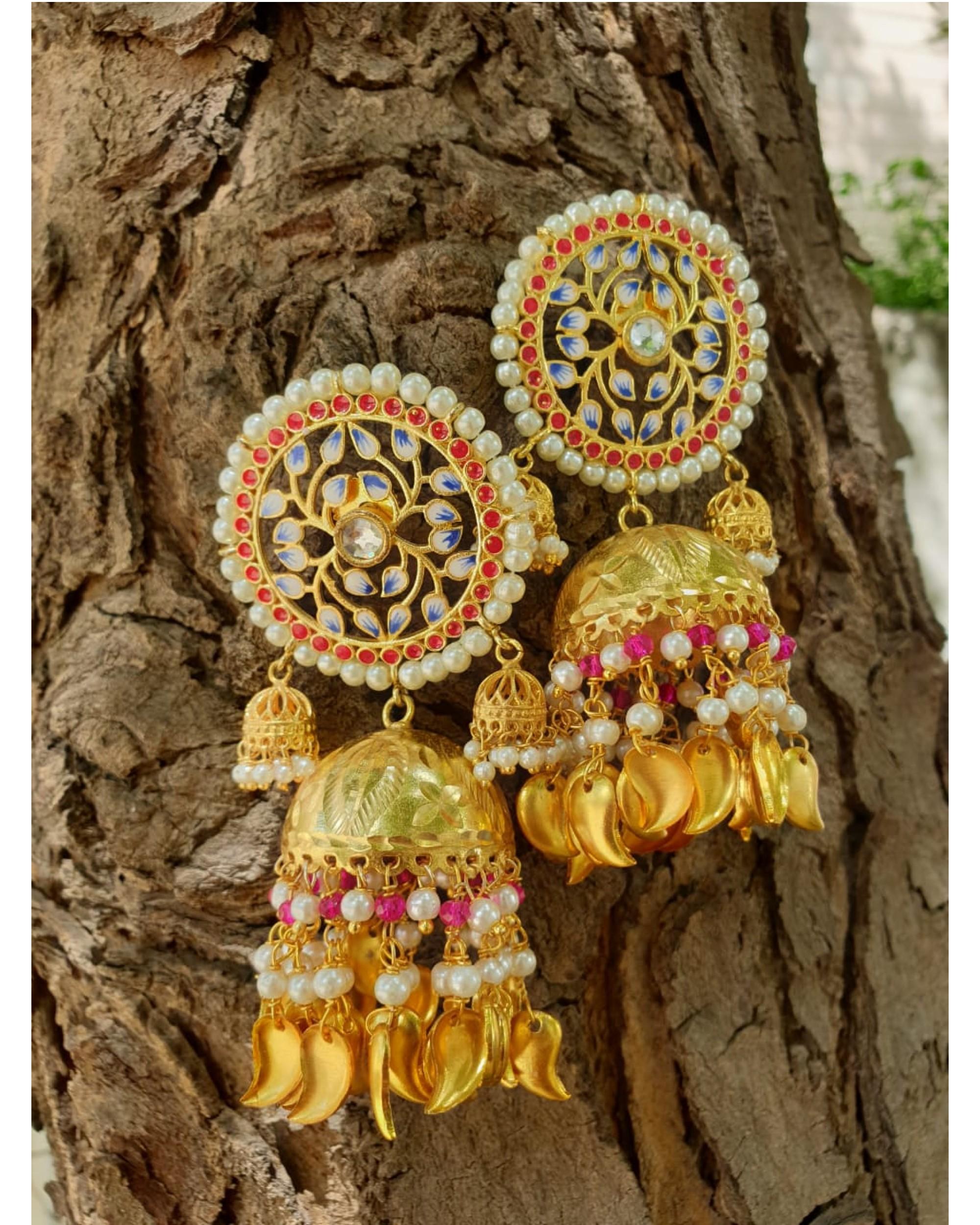 Pink and gold lotus jhumka