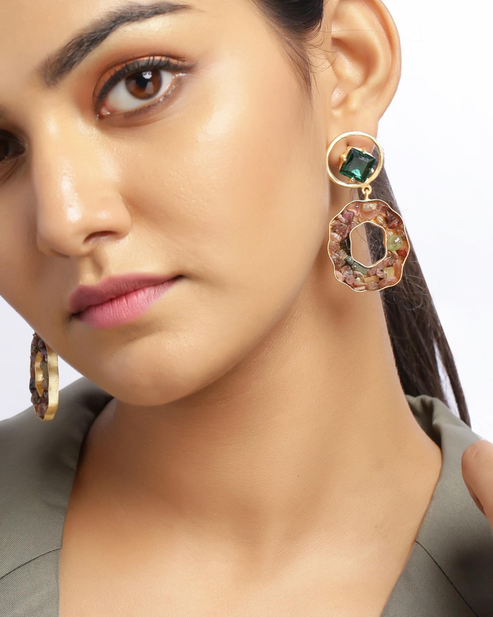 Fern green crystalline statement earring