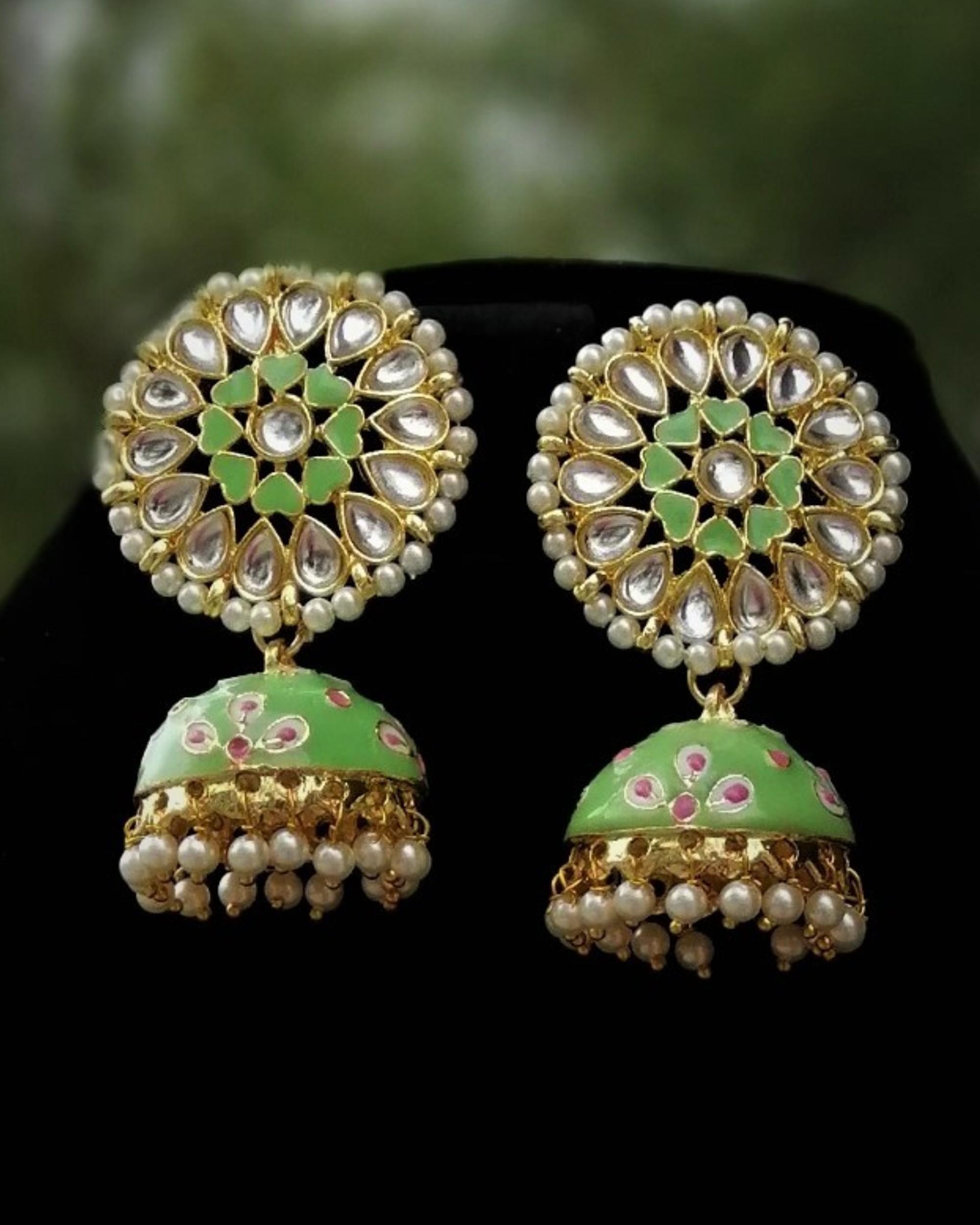 Lime green meenakari earrings