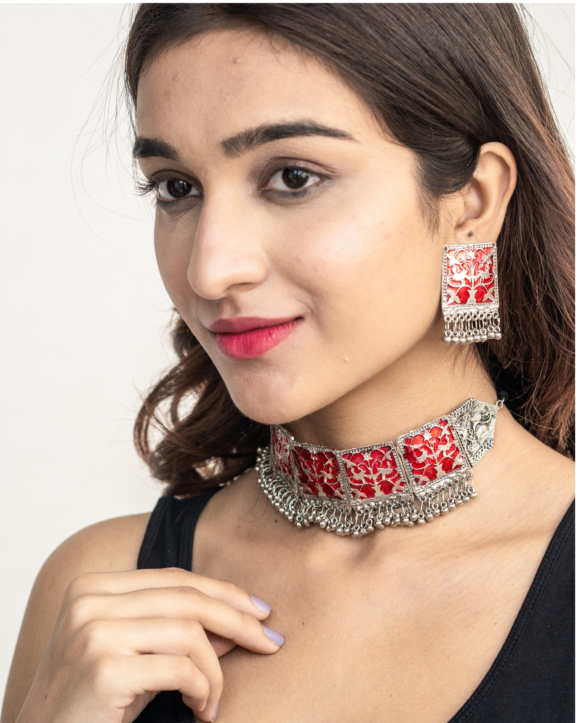 Red geometric neck piece and earrings set