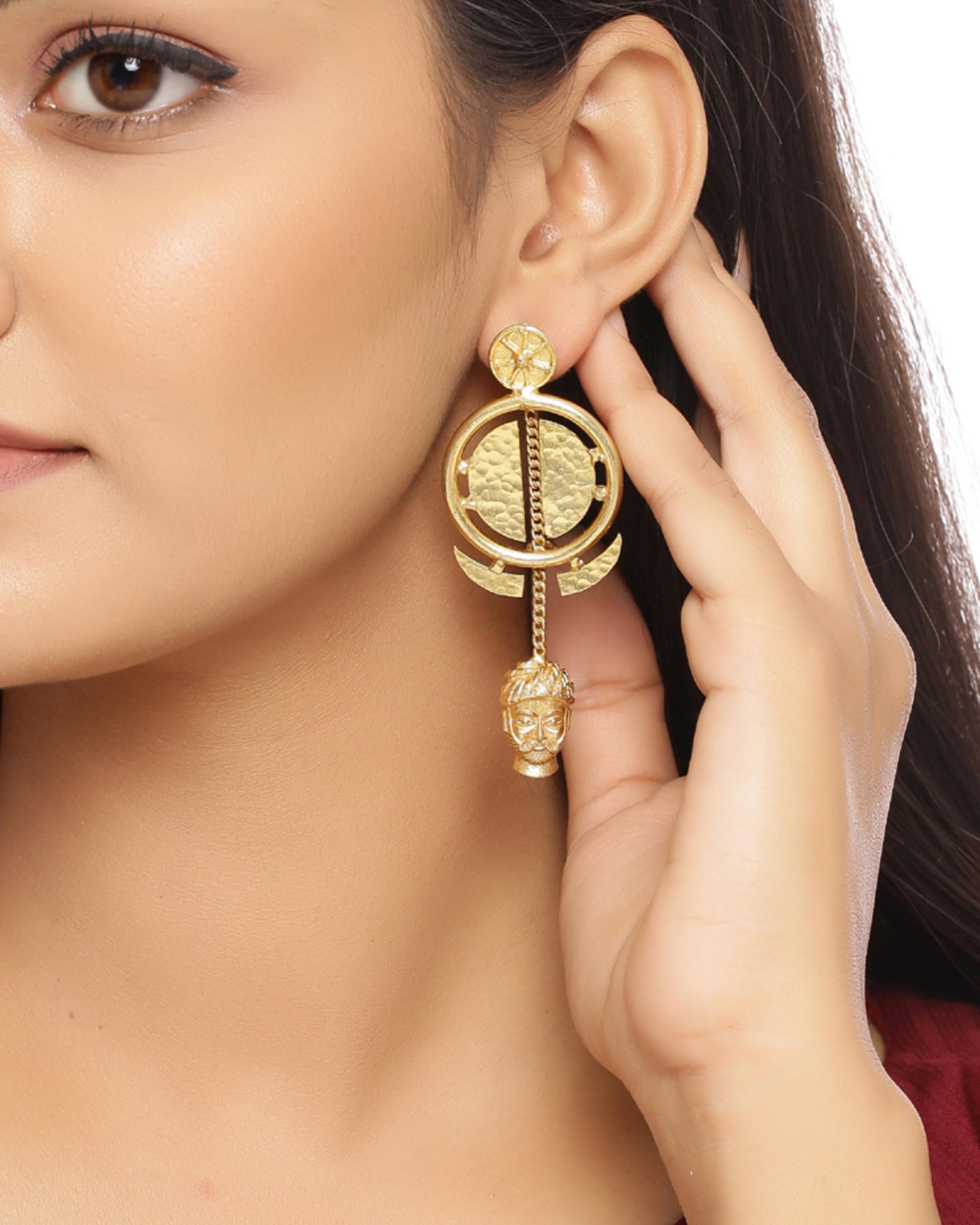 Golden bana charm earrings