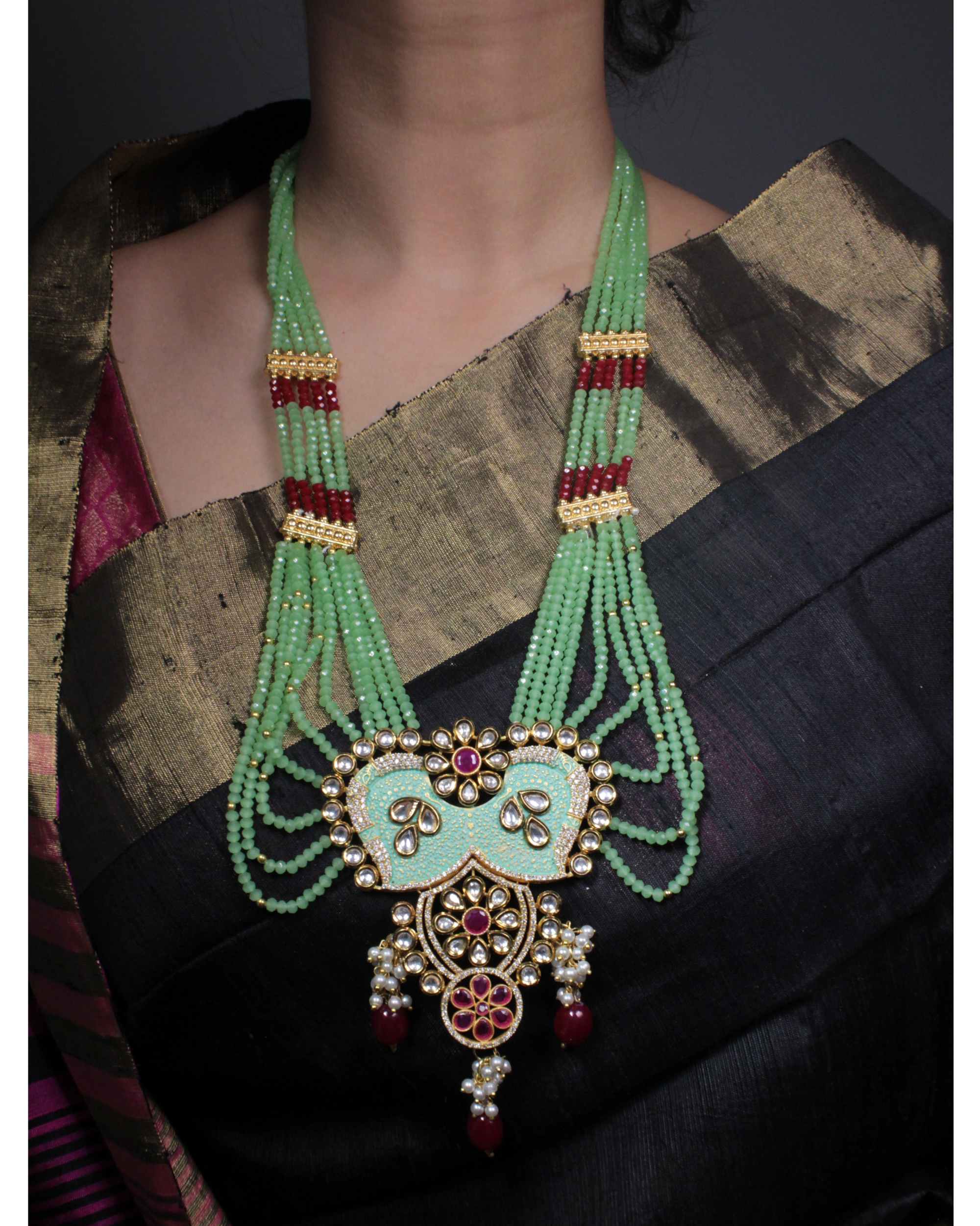 Mint green meenakari and kundan necklace and earring set - set of two