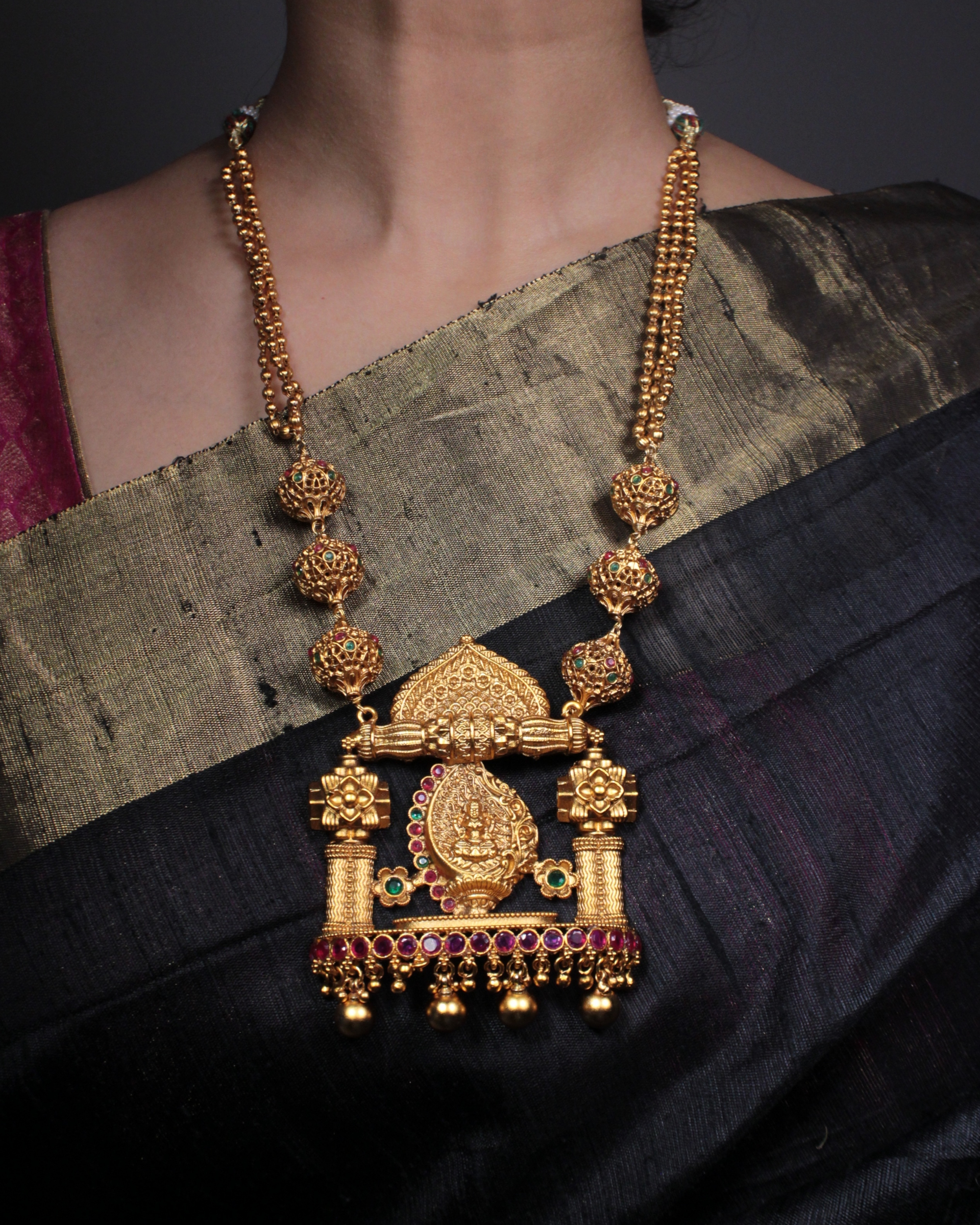 Lakshmi temple motif necklace and earrings set - set of two