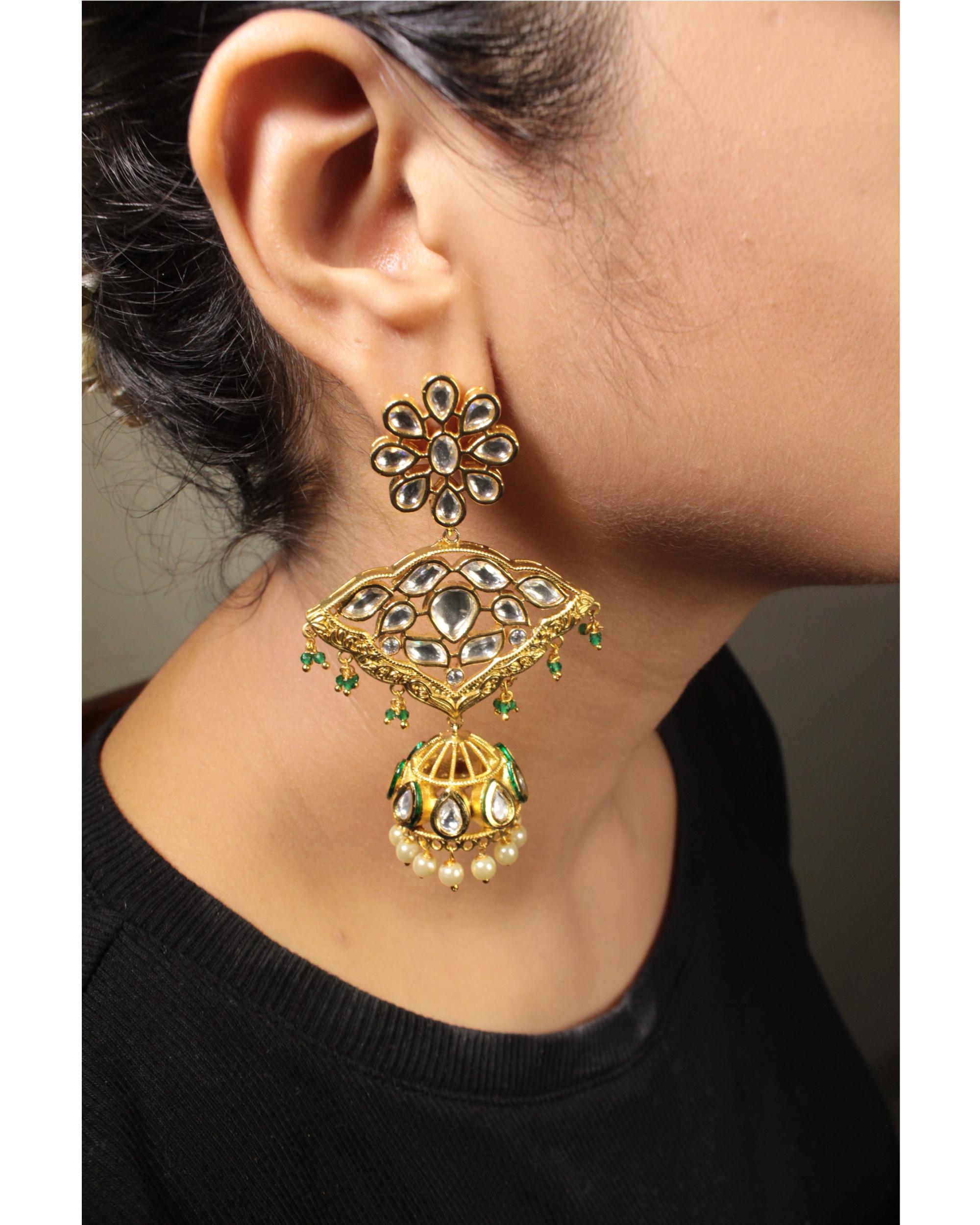 Kundan and pearl beads jhumkas