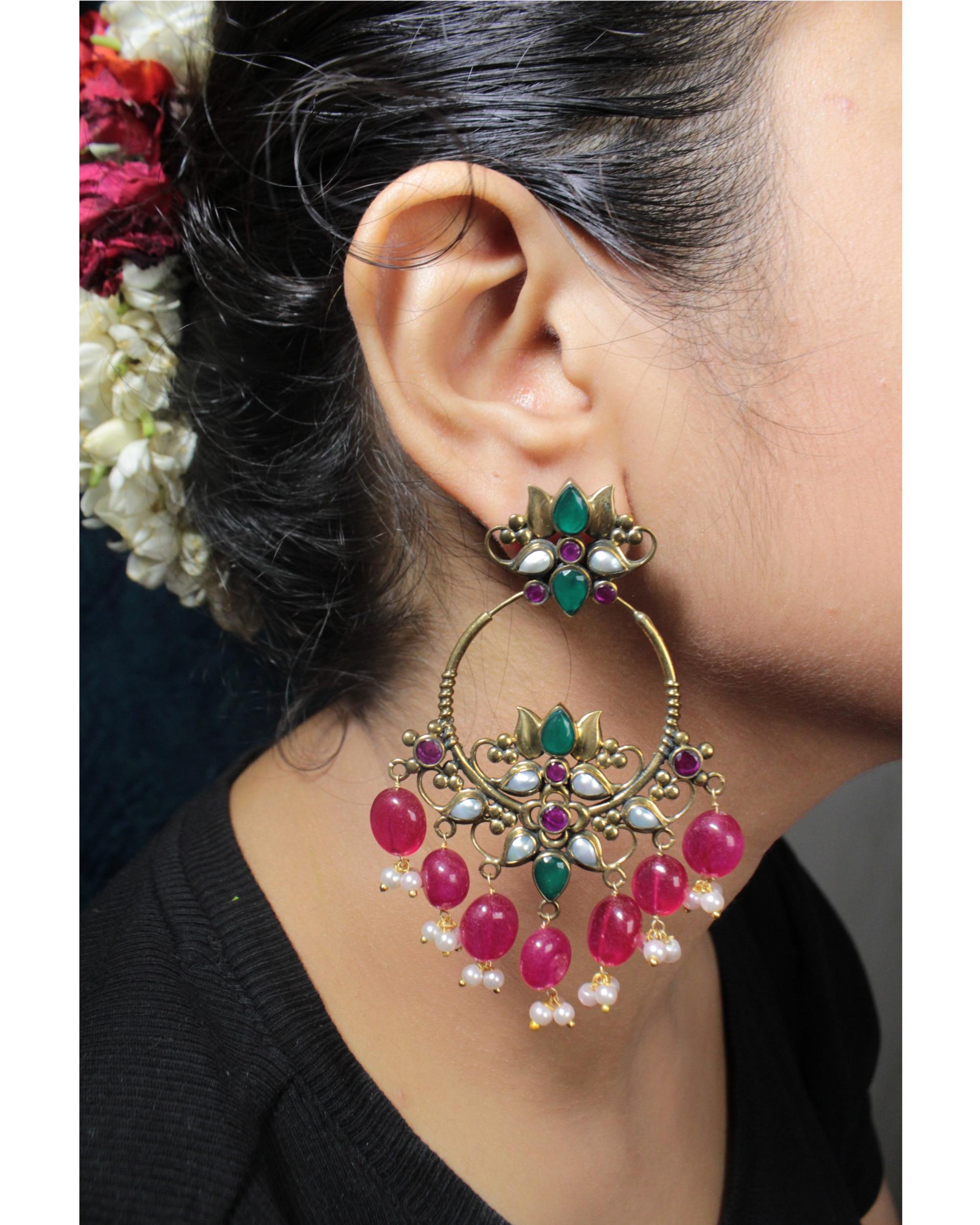 Pankaja Beads And Pearl Hoop Earrings