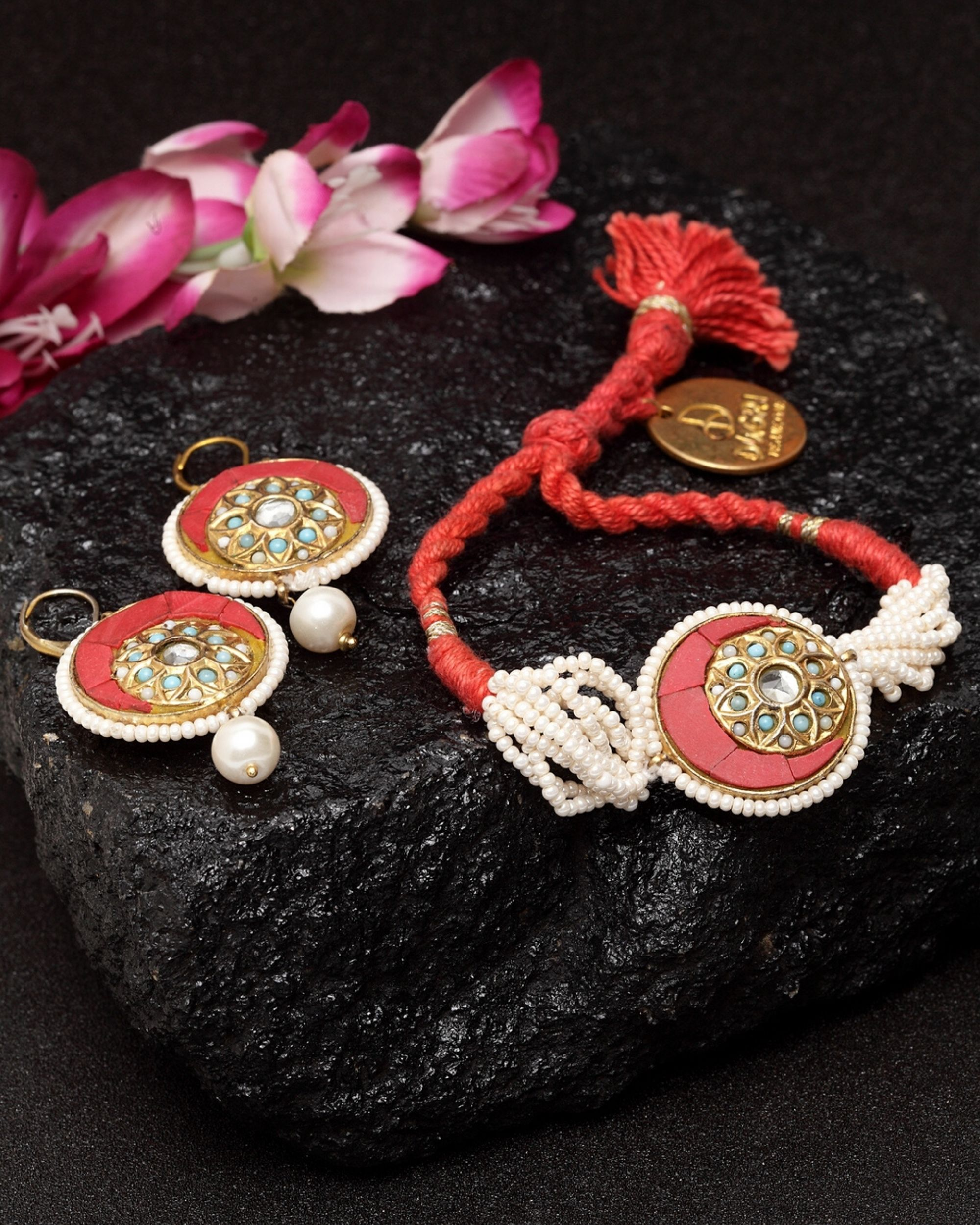 Ruby and pearls bracelet and earrings - set of two