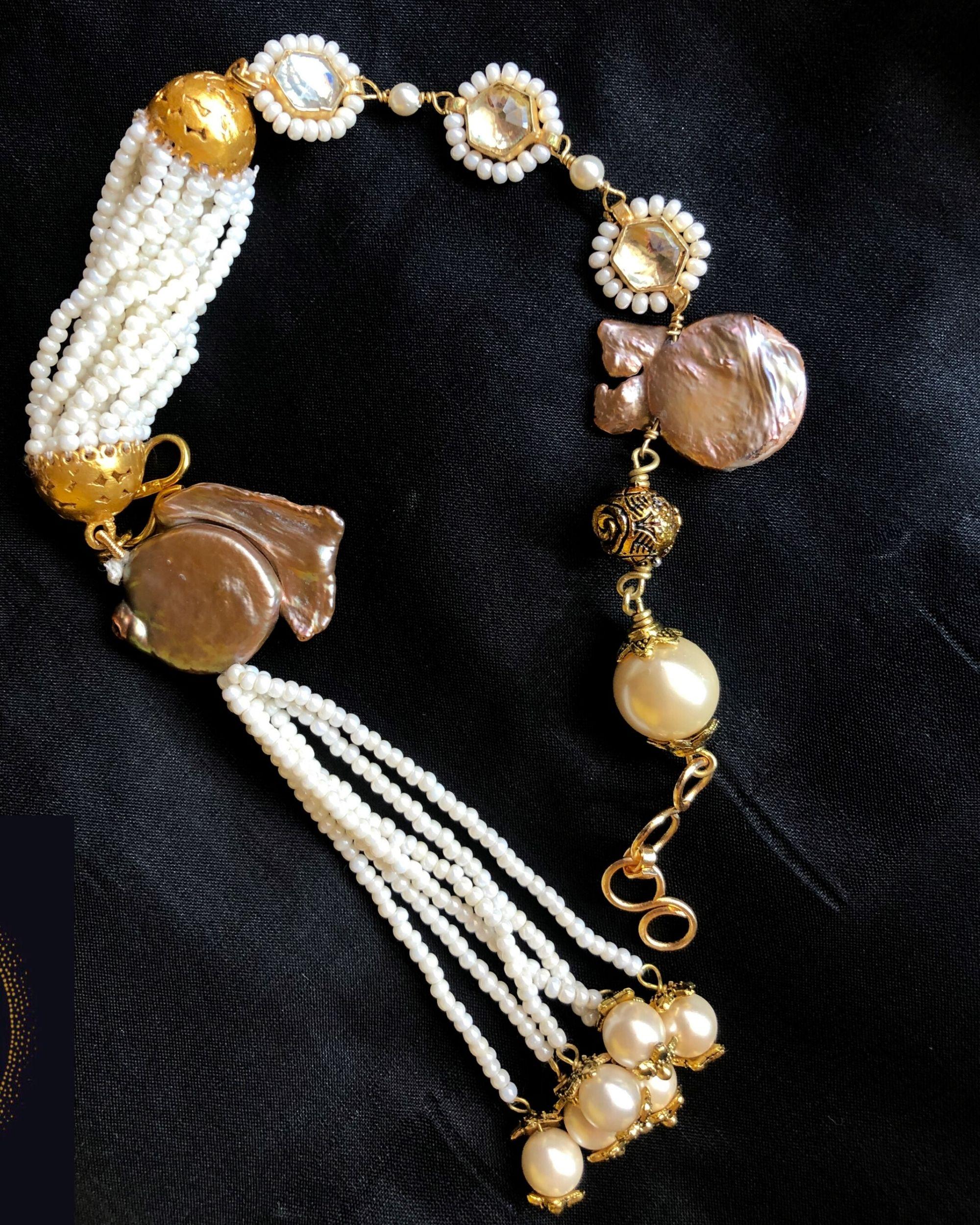 Baroque pearls and beads tassel bracelet