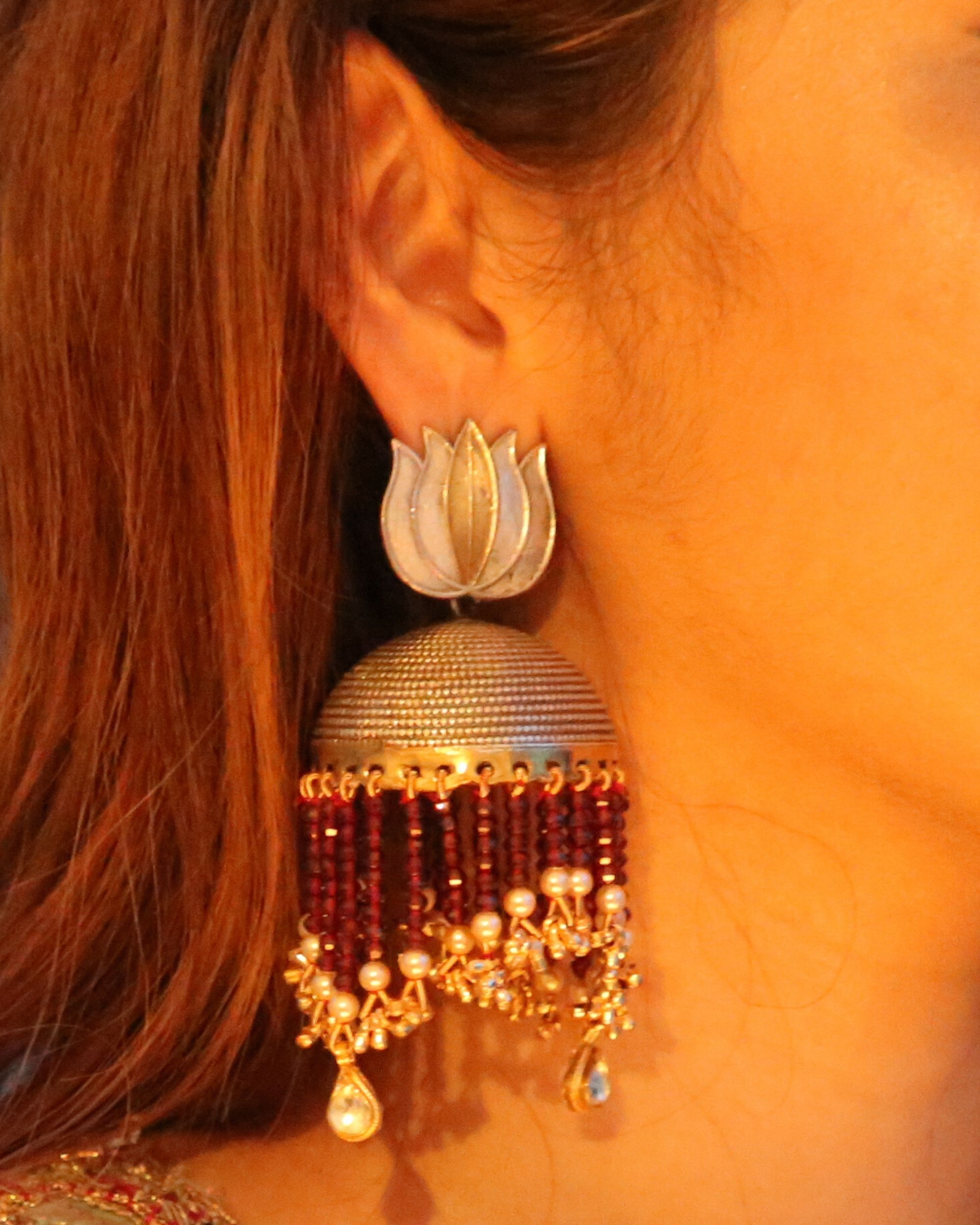 Lotus motif and lush pearls jhumka