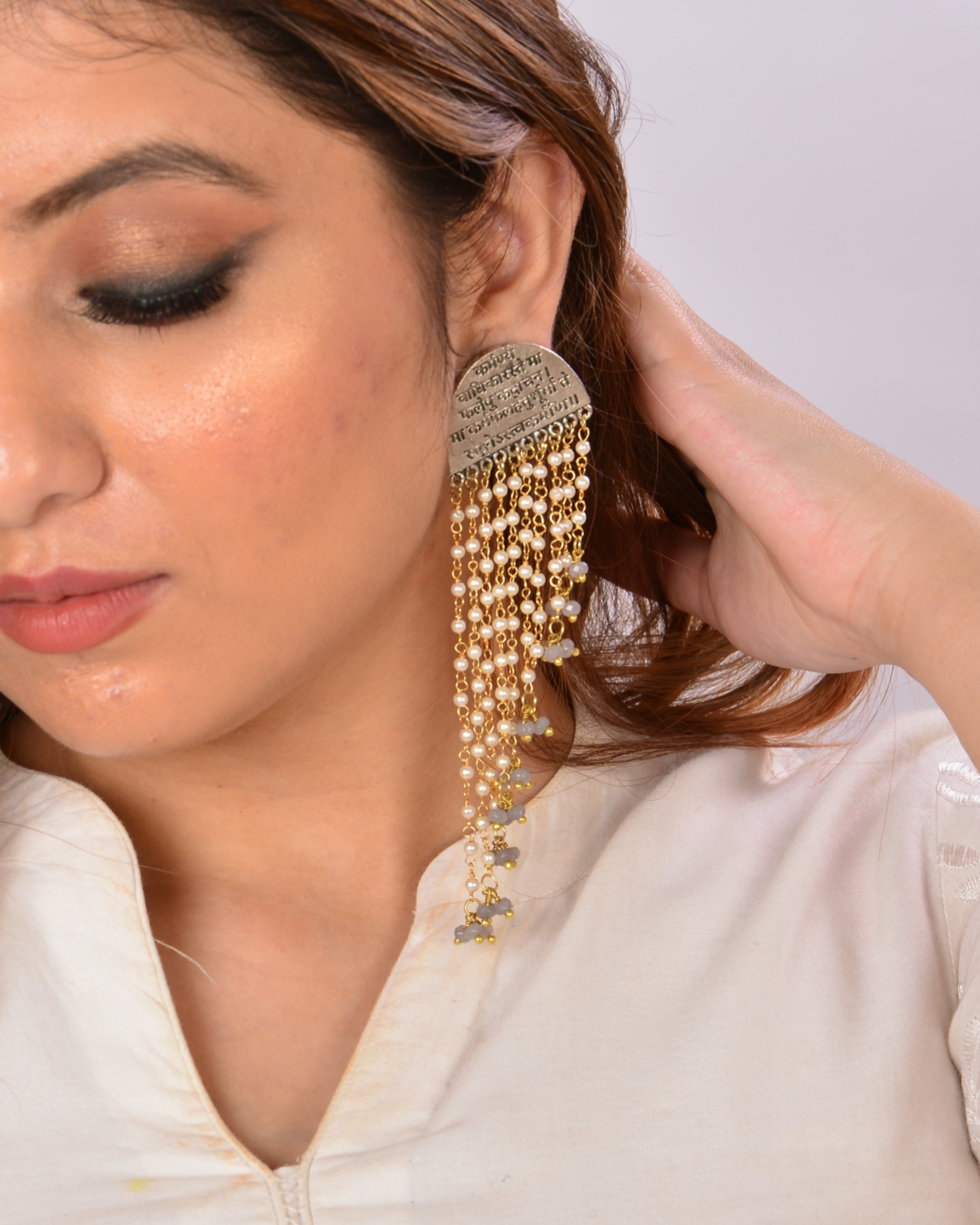 Pearls and beads waterfall mantra earrings