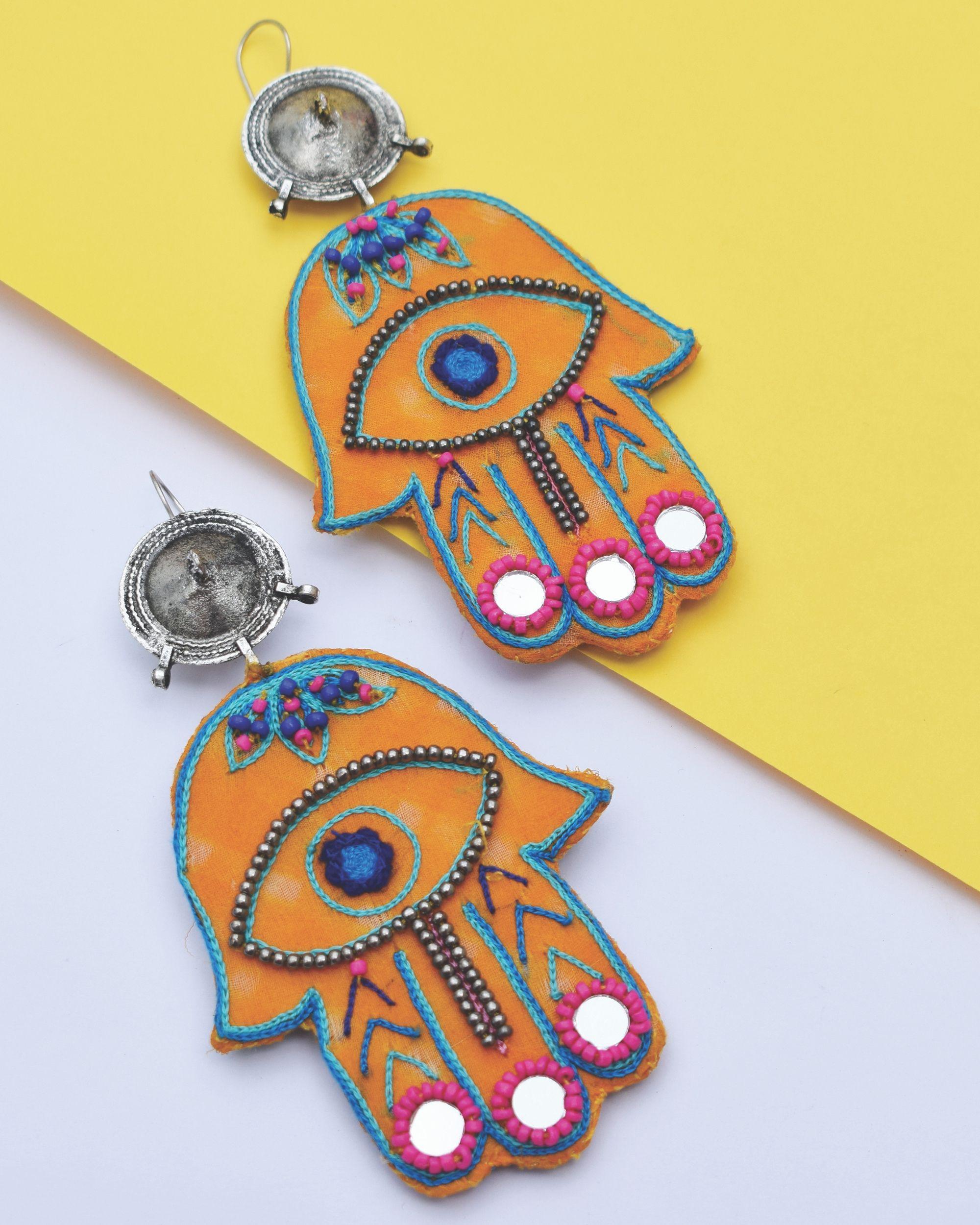 Yellow embroidered hamza earrings