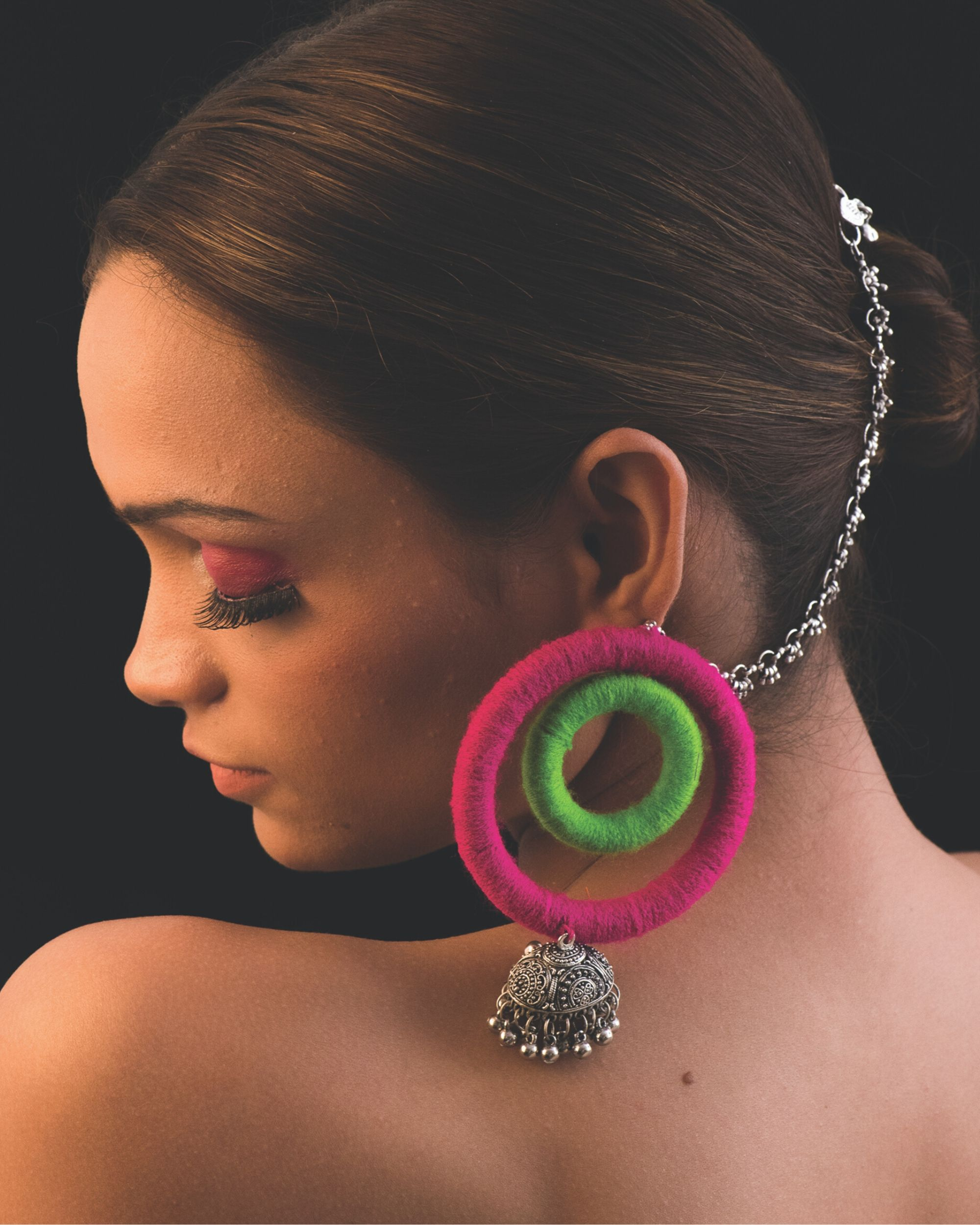 Green and pink duo hoop earrings
