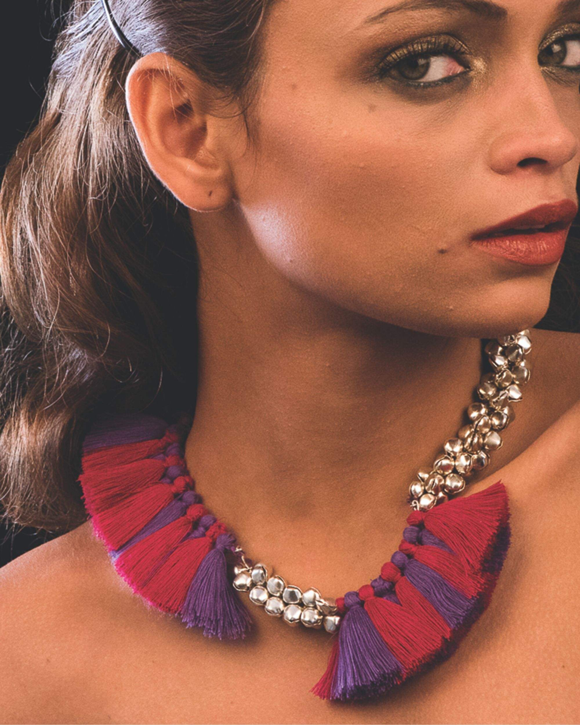 Pink and purple tassel neckpiece
