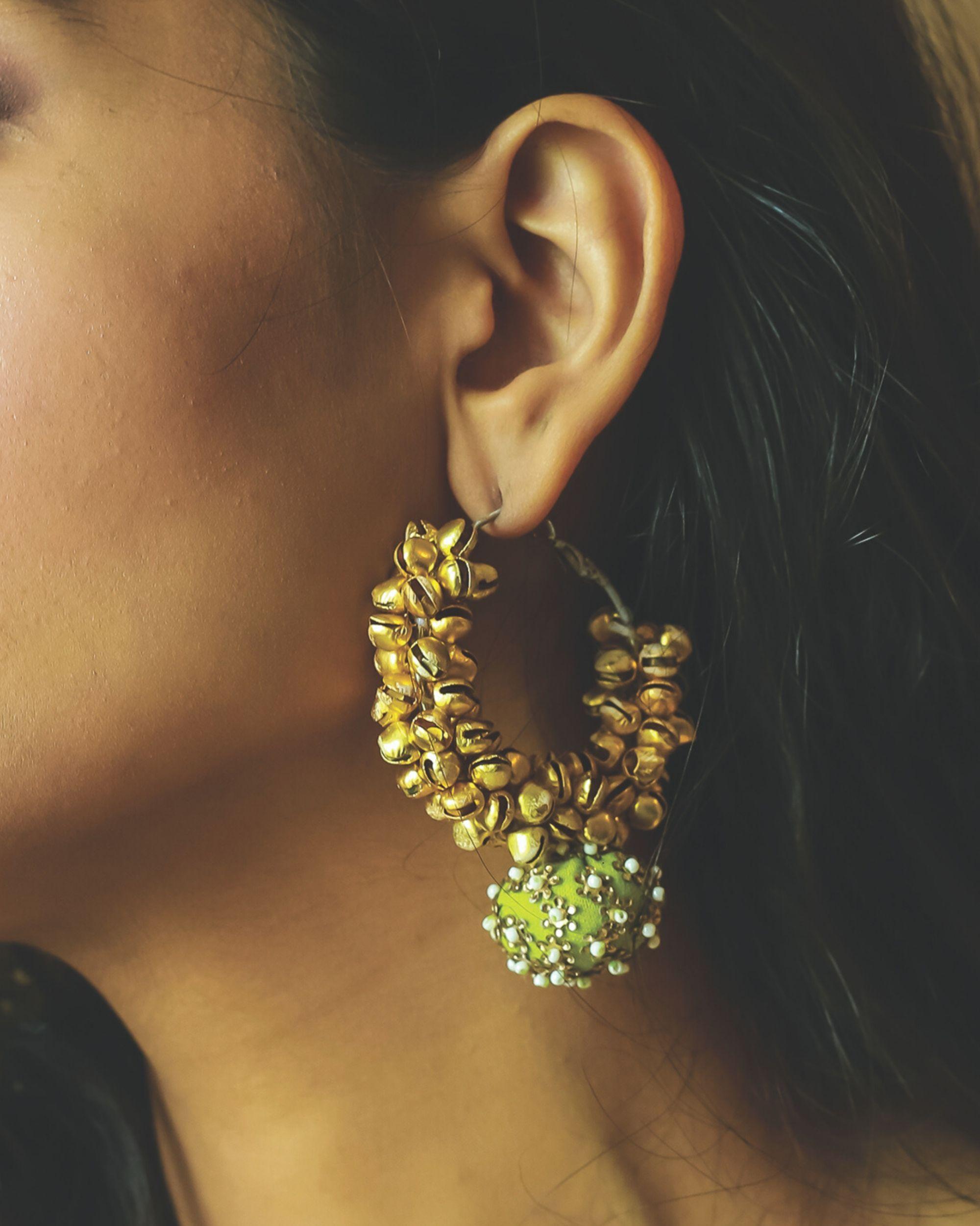 Green beaded ghunghroo earrings