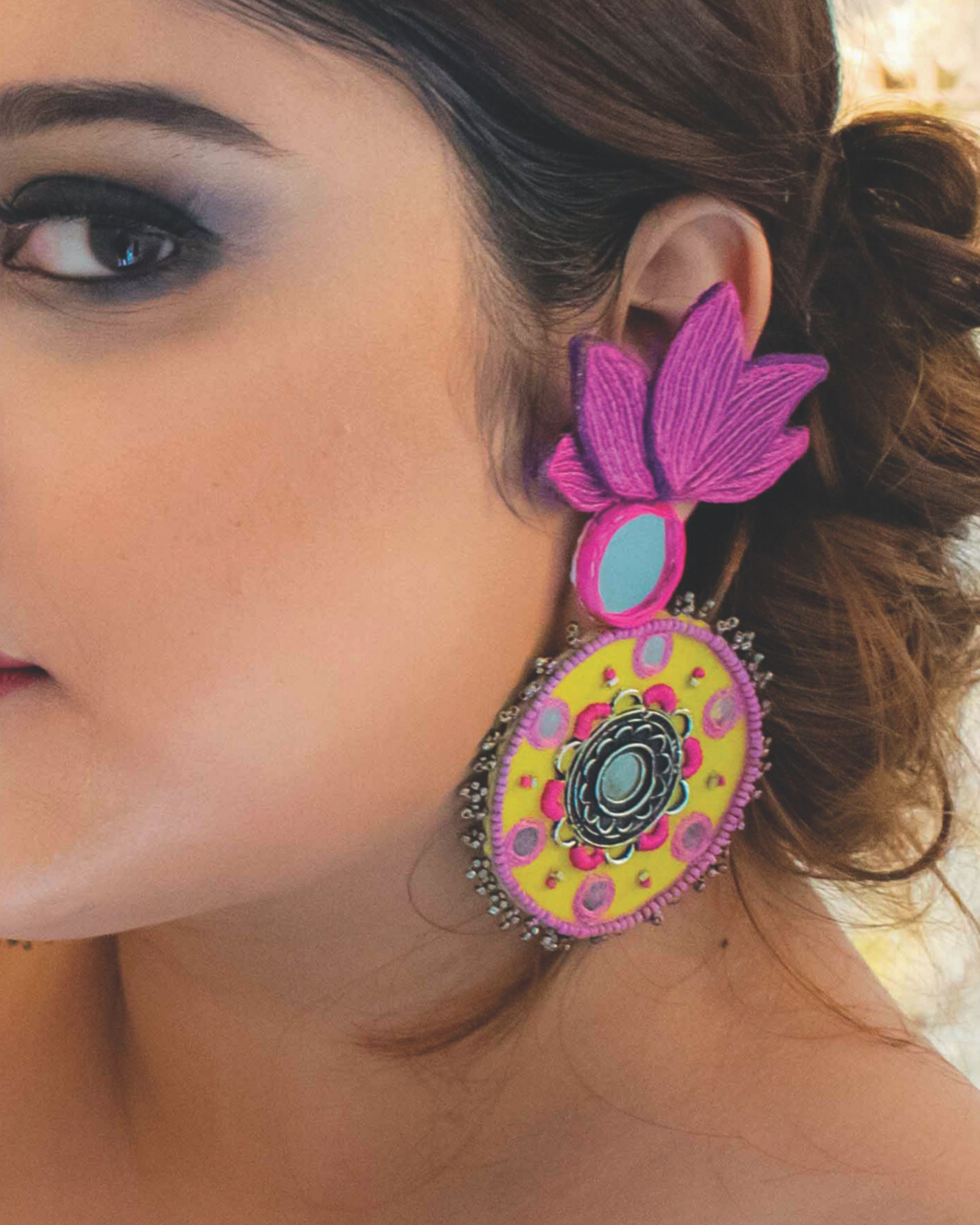 Mirror embellished lotus earrings