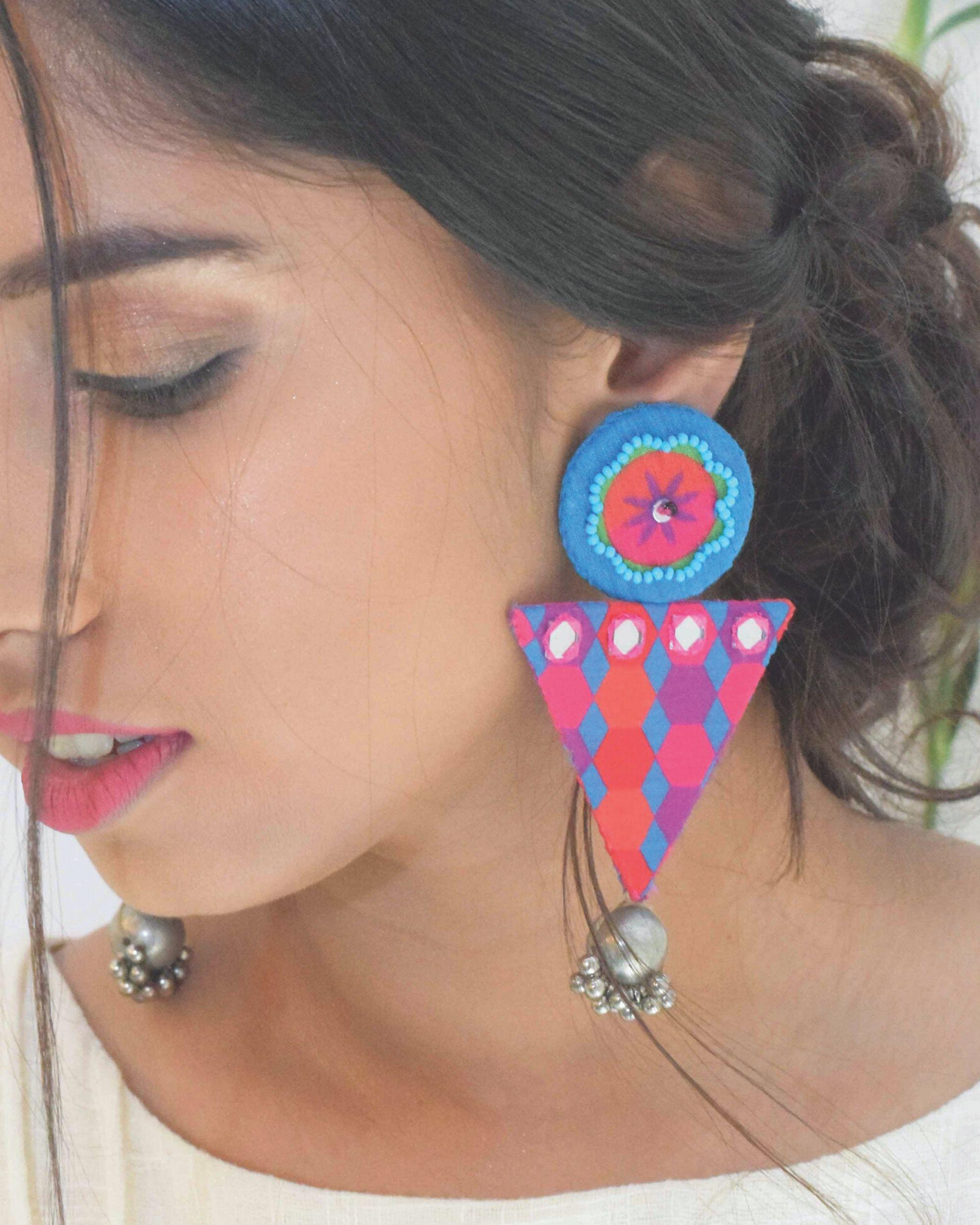 Floral embellished trigon earrings