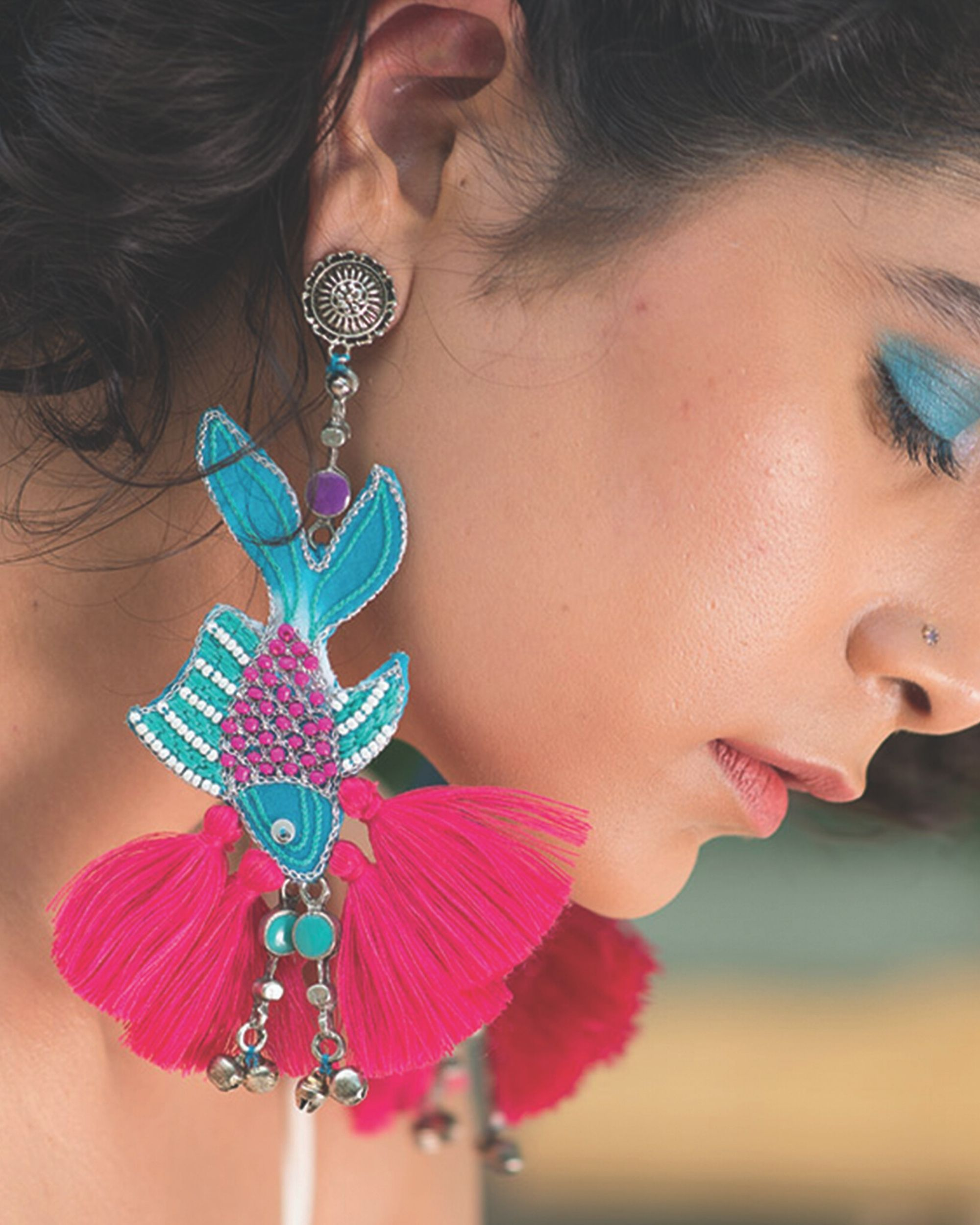 Pink and blue embroidered fish tassel earrings