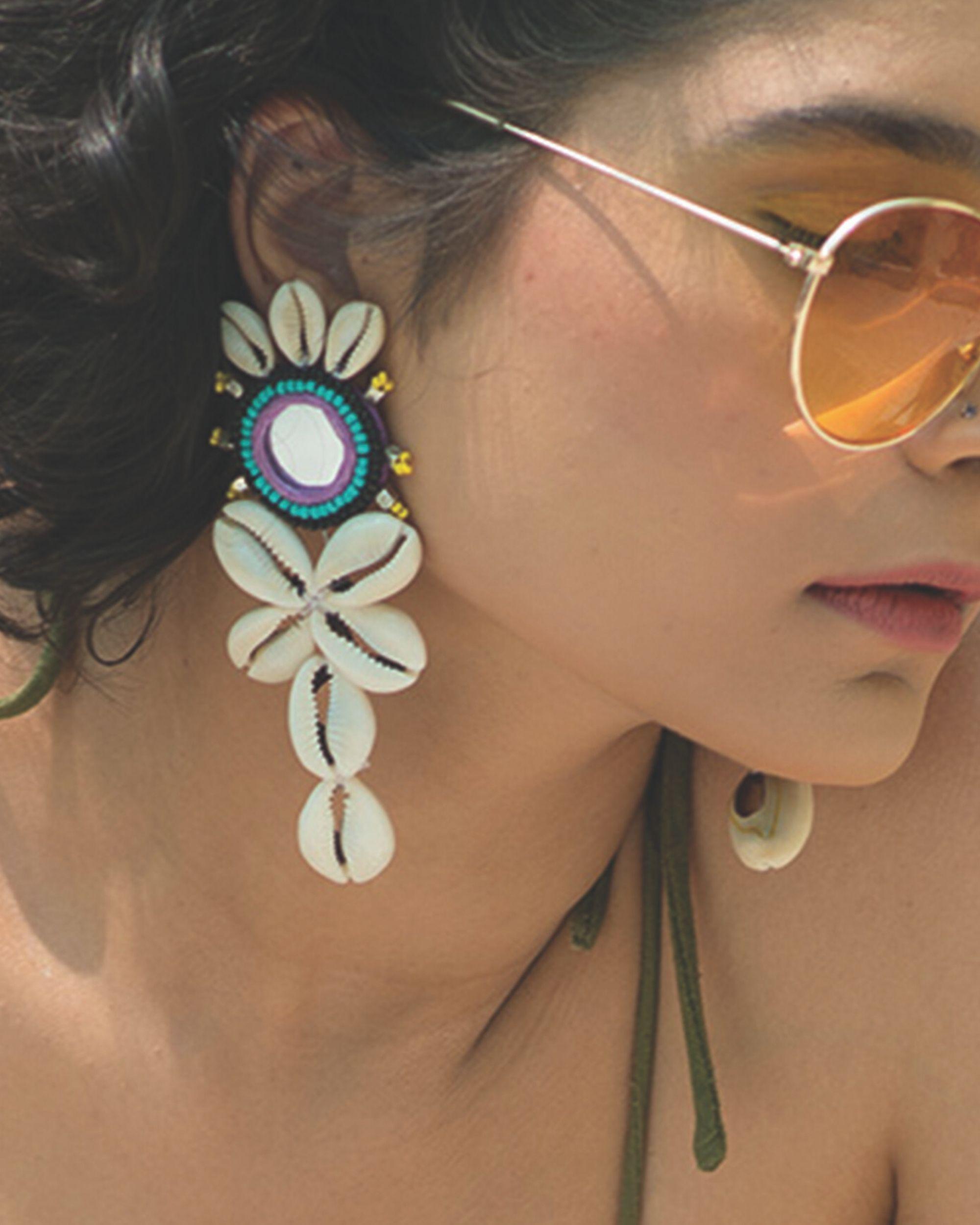 Cowrie shells mirror embellished jhumkas