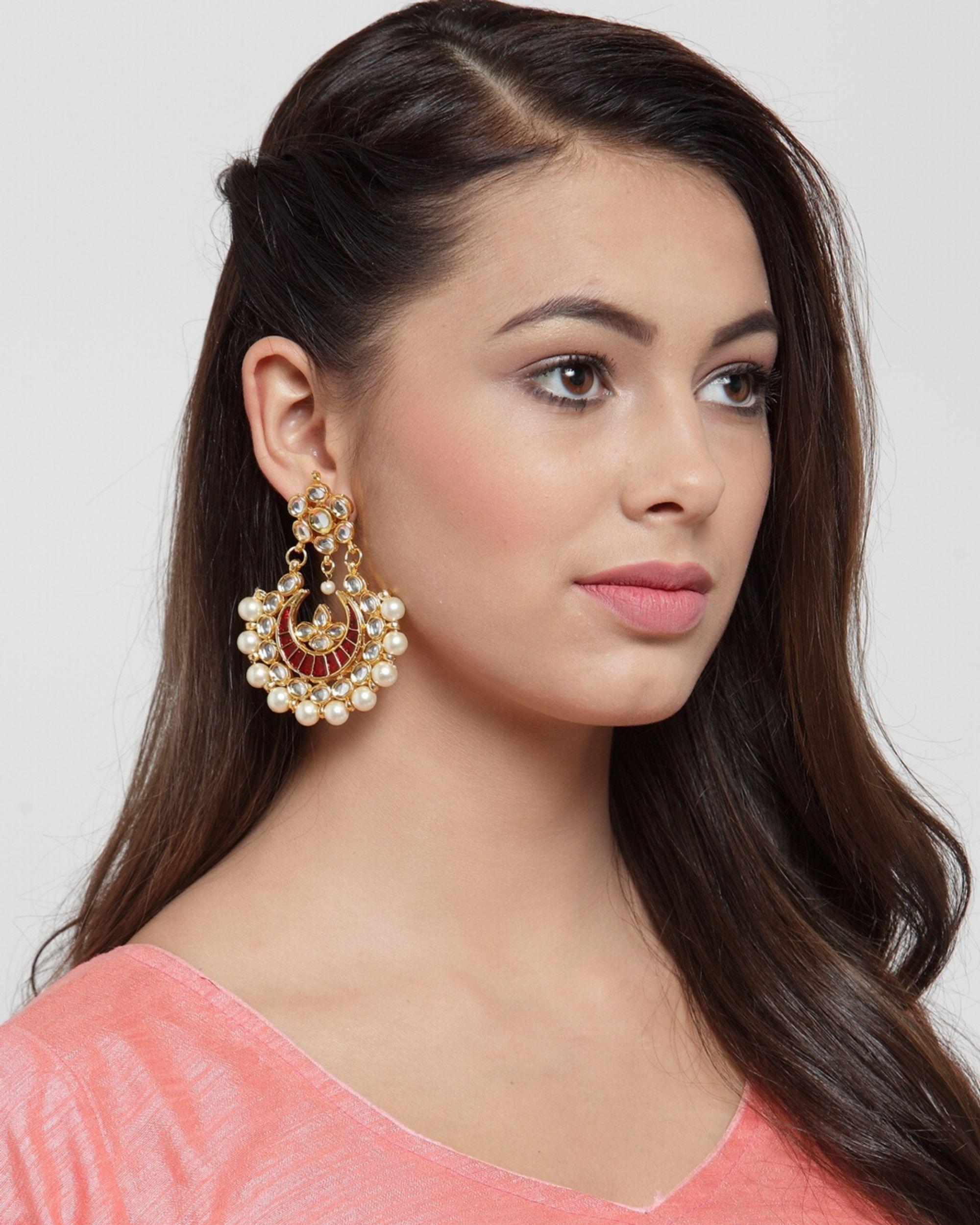 Red crescent dangler earrings