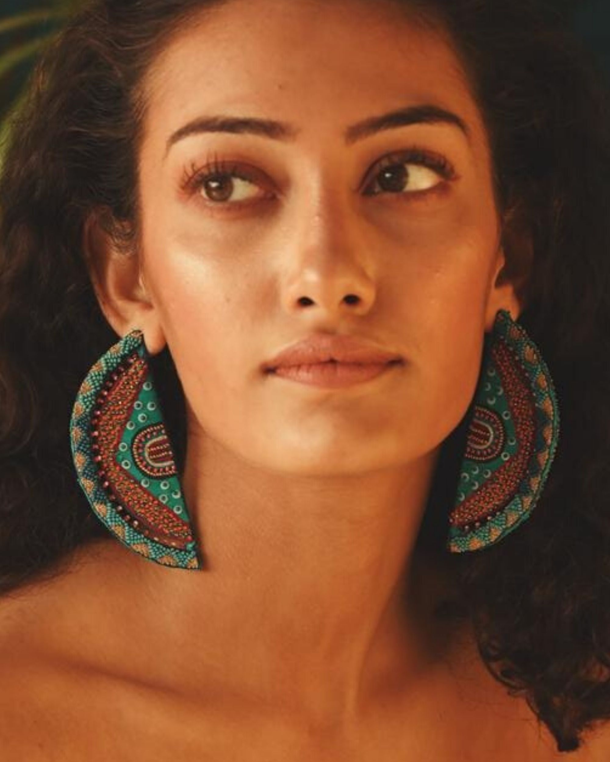 Dome shaped embroidered earring