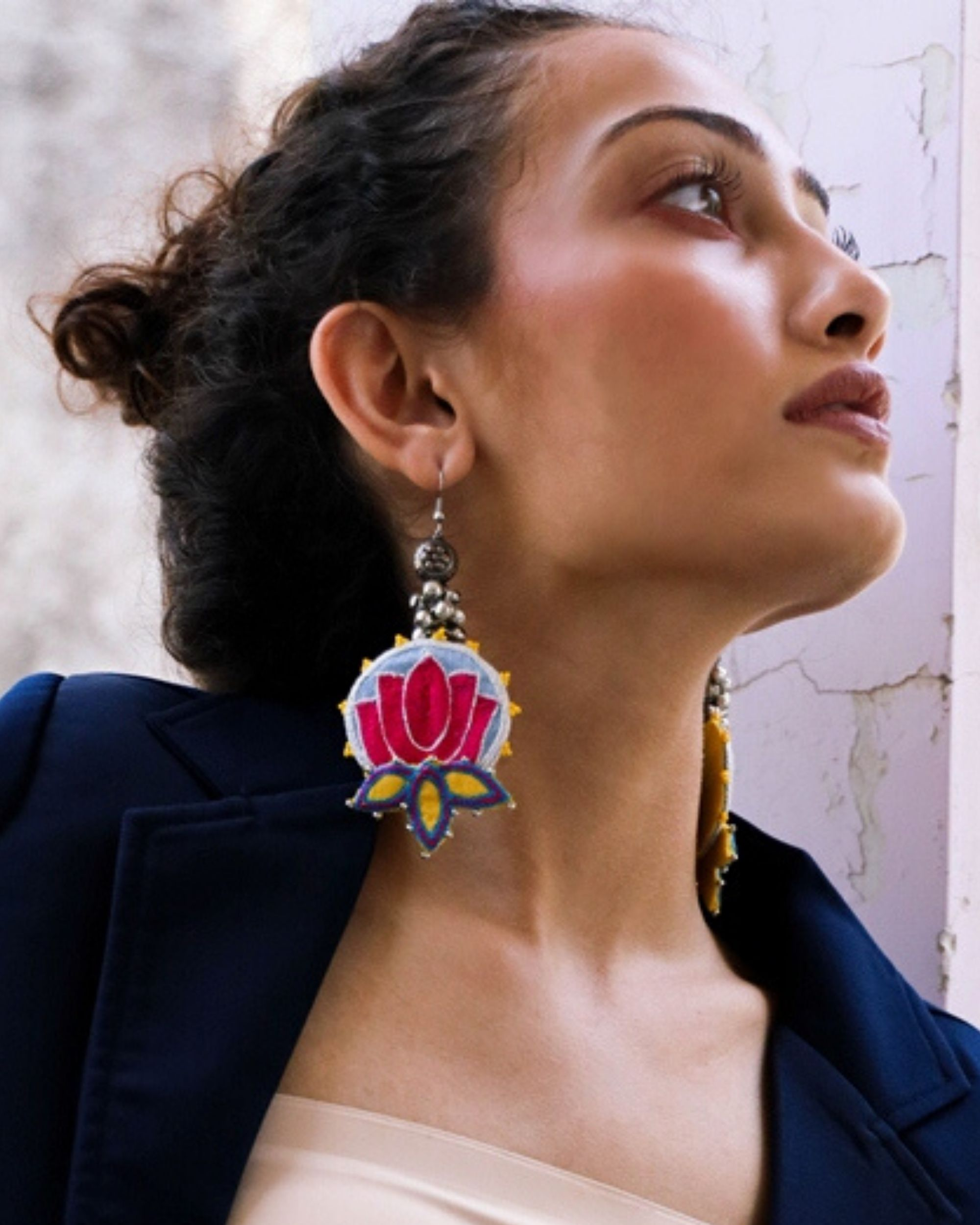 Pink and blue lotus embroidered and beads earring