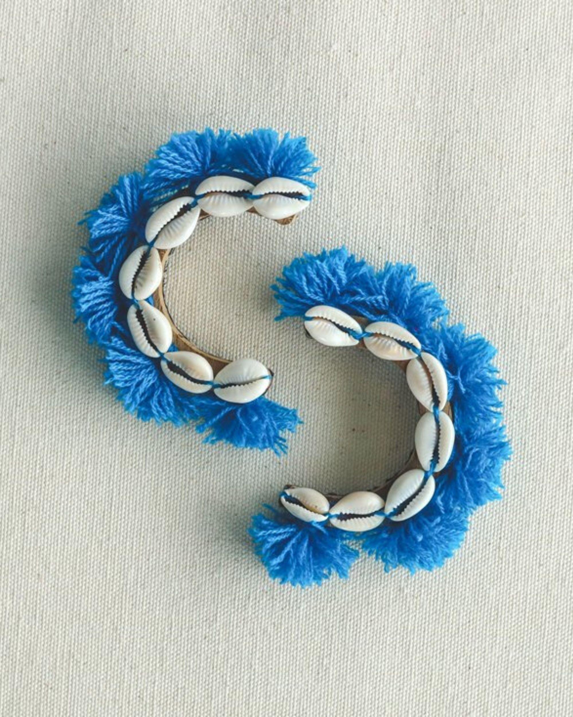 Cowrie shells and blue tassels earring