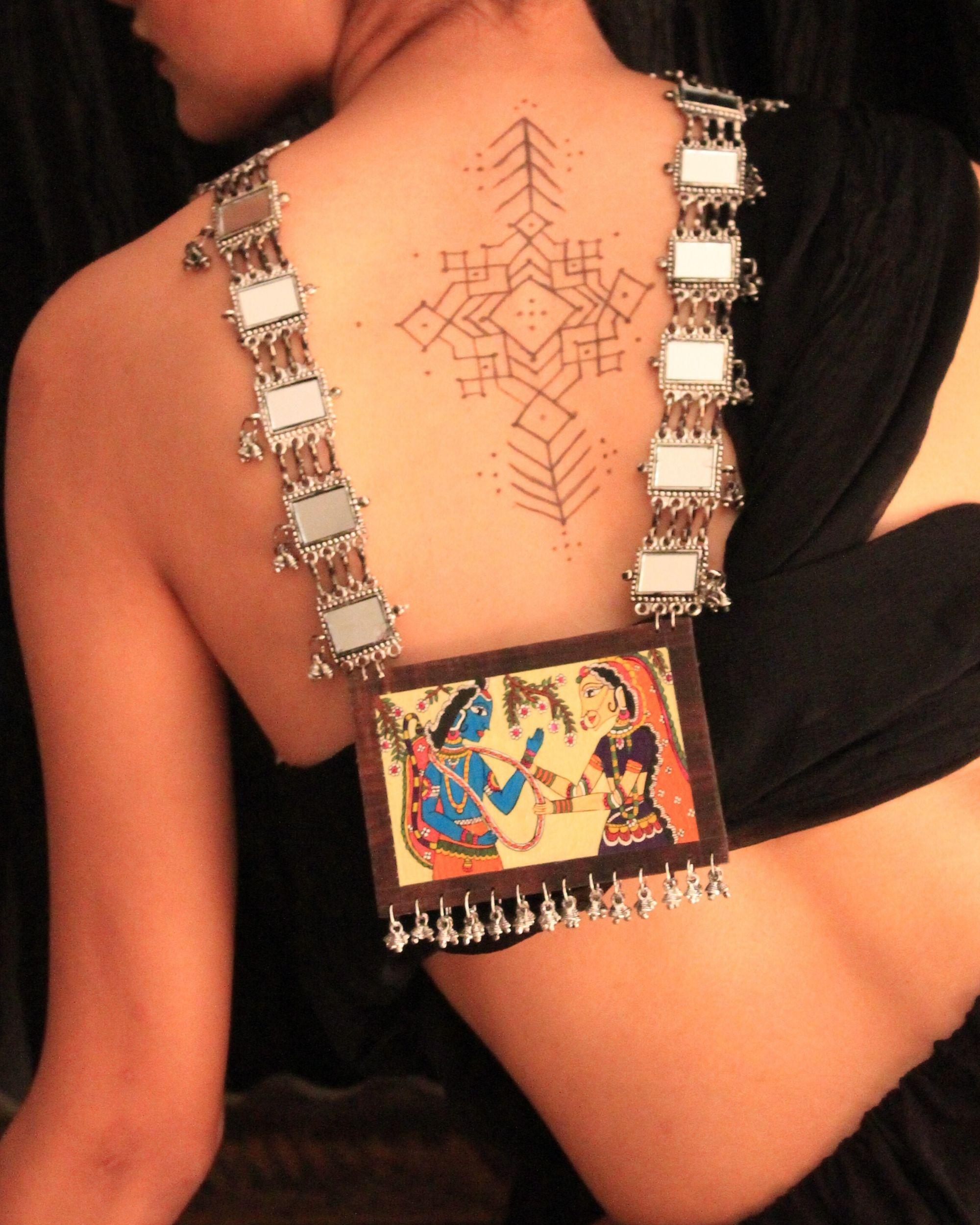 Ramleela hand painted wooden neckpiece