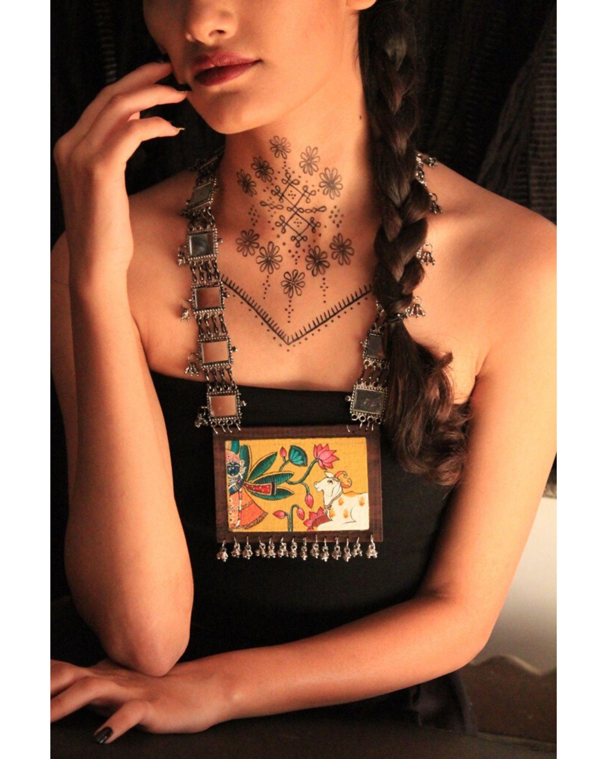 Madhuban hand painted wooden neckpiece