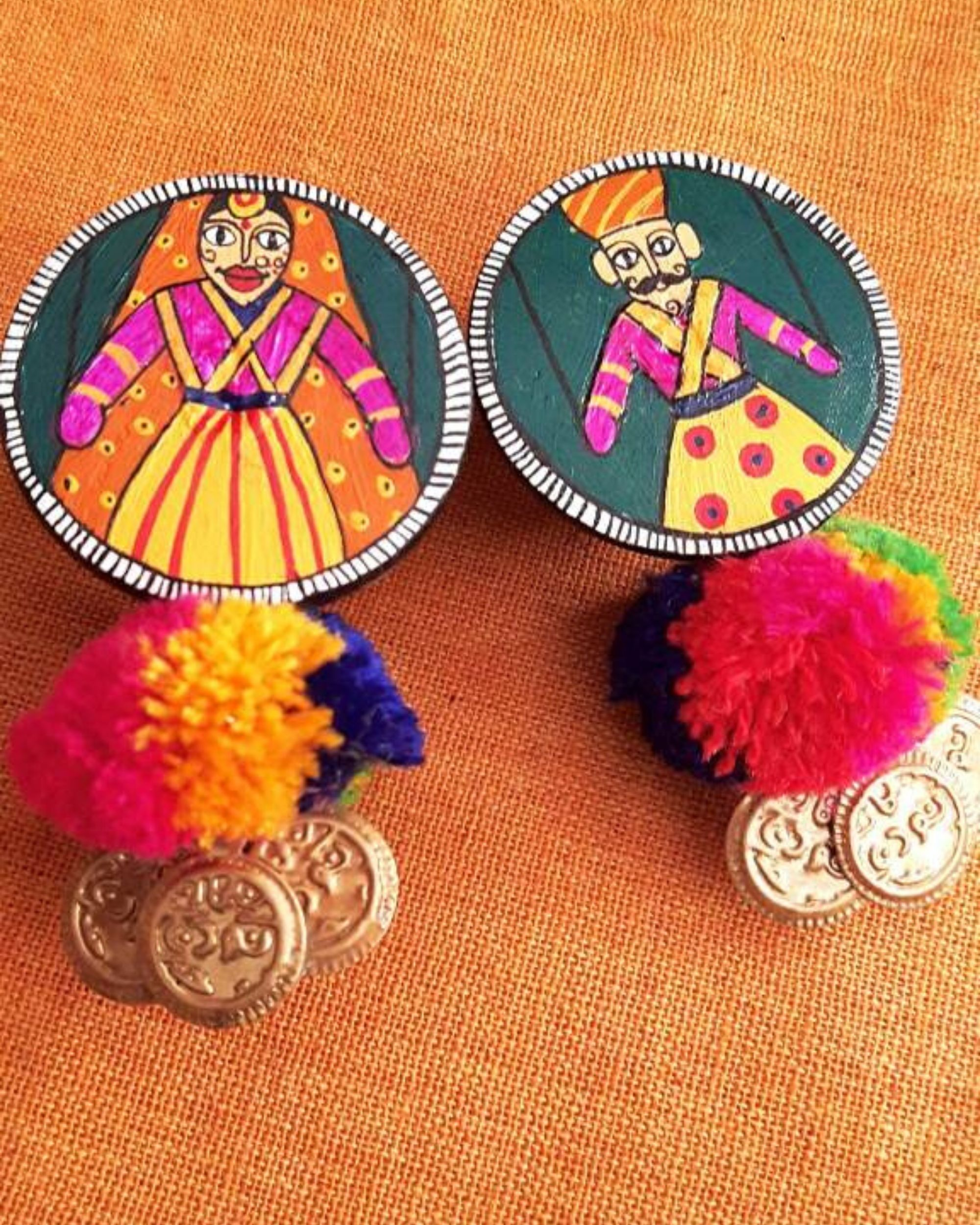 Puppets painted earring with coin hangings