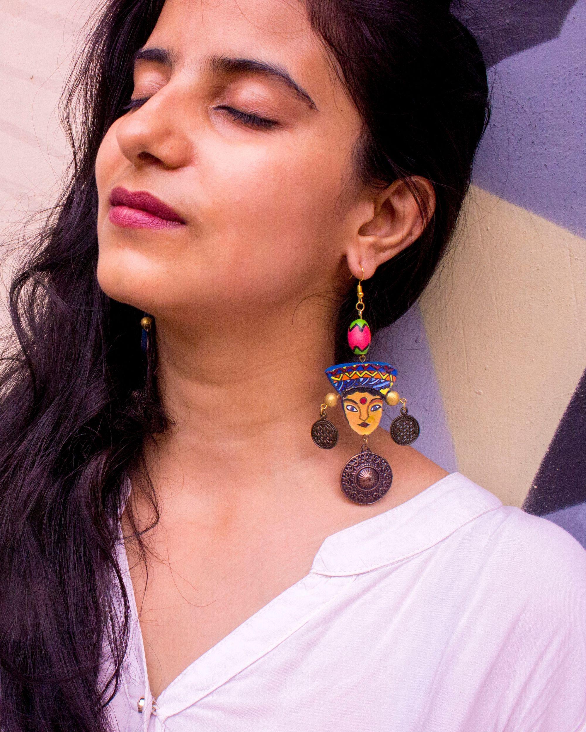 Tribal beaded terracotta earring