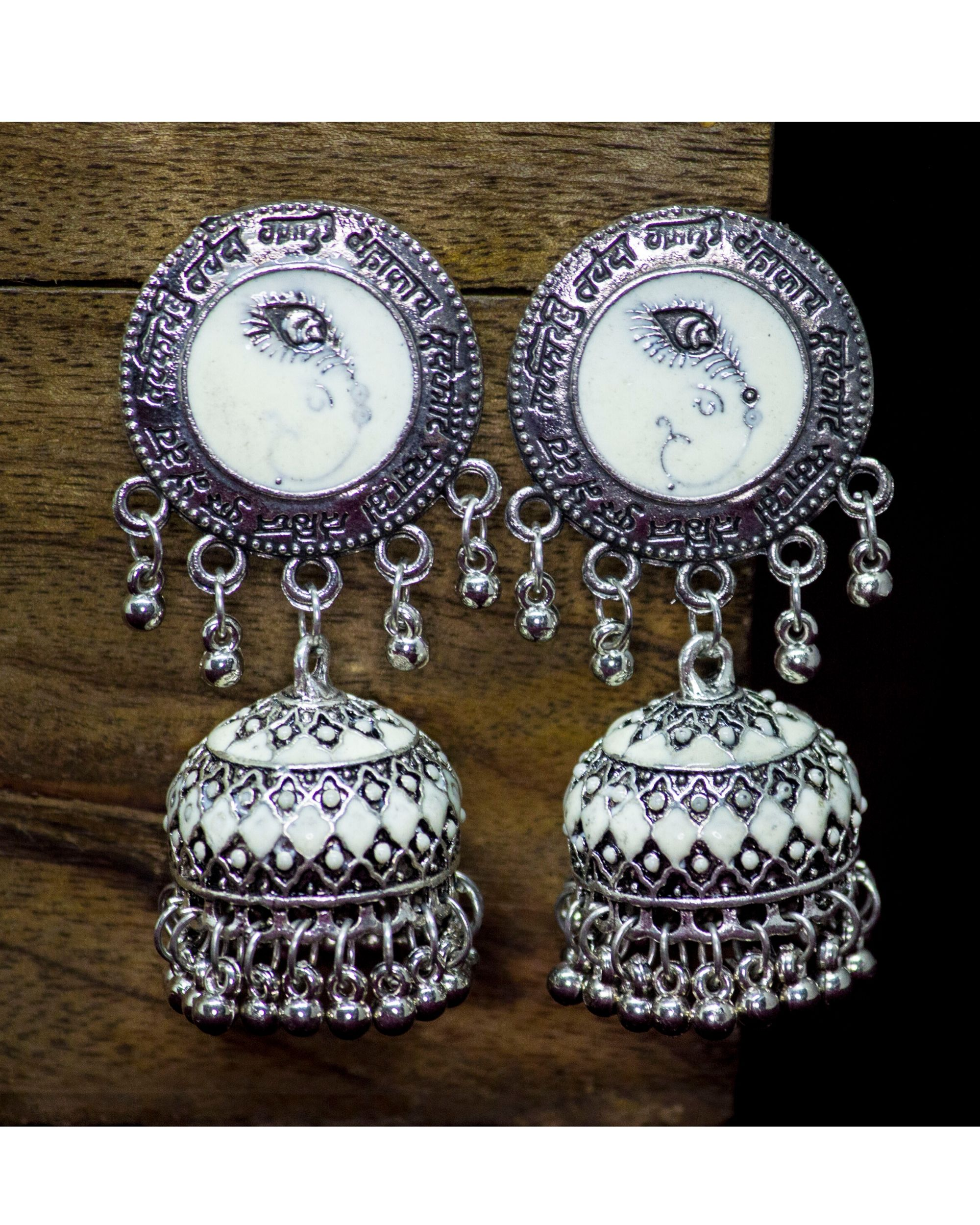 White meenakari earrings