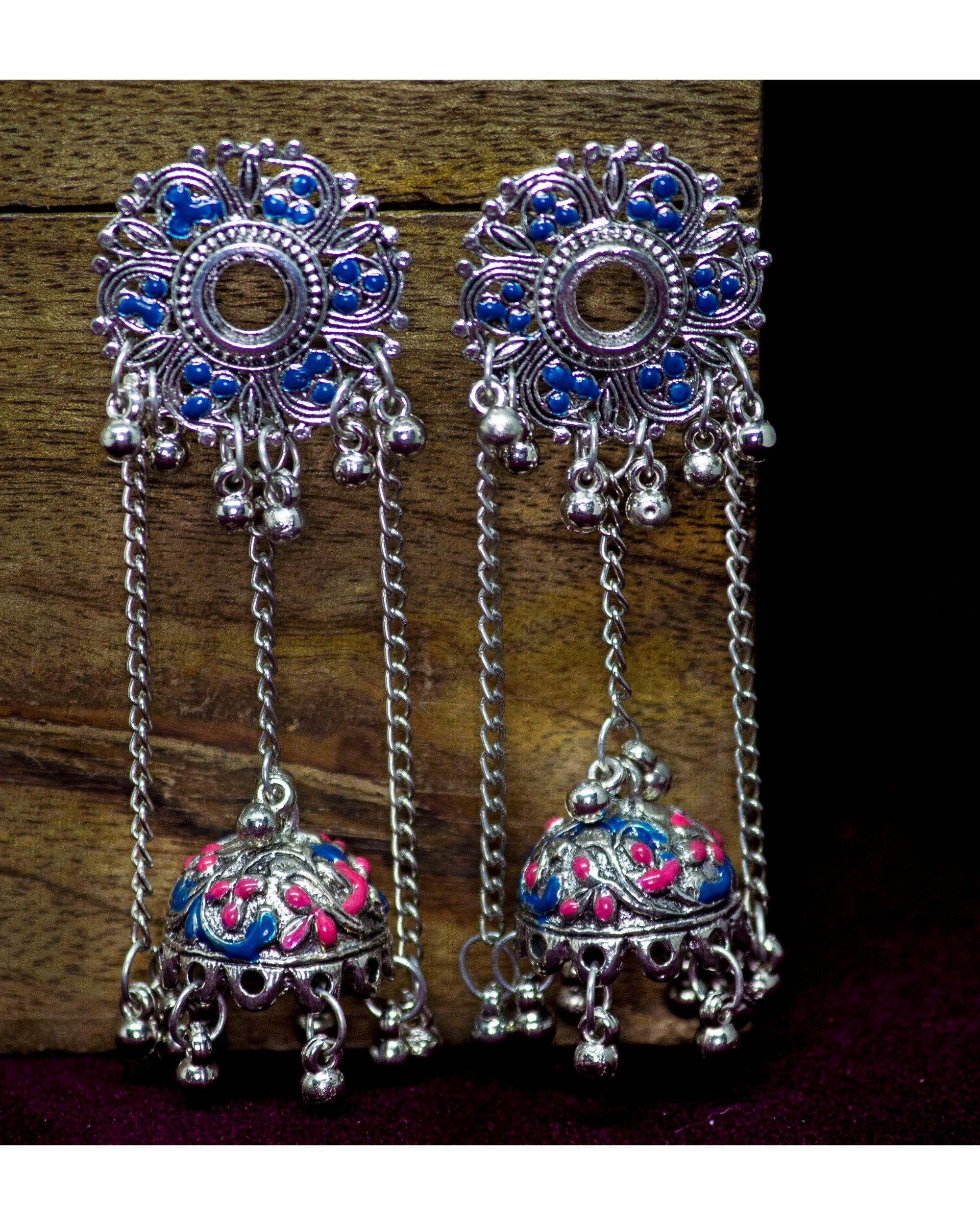 Blue and pink jhumar meenakari jhumka
