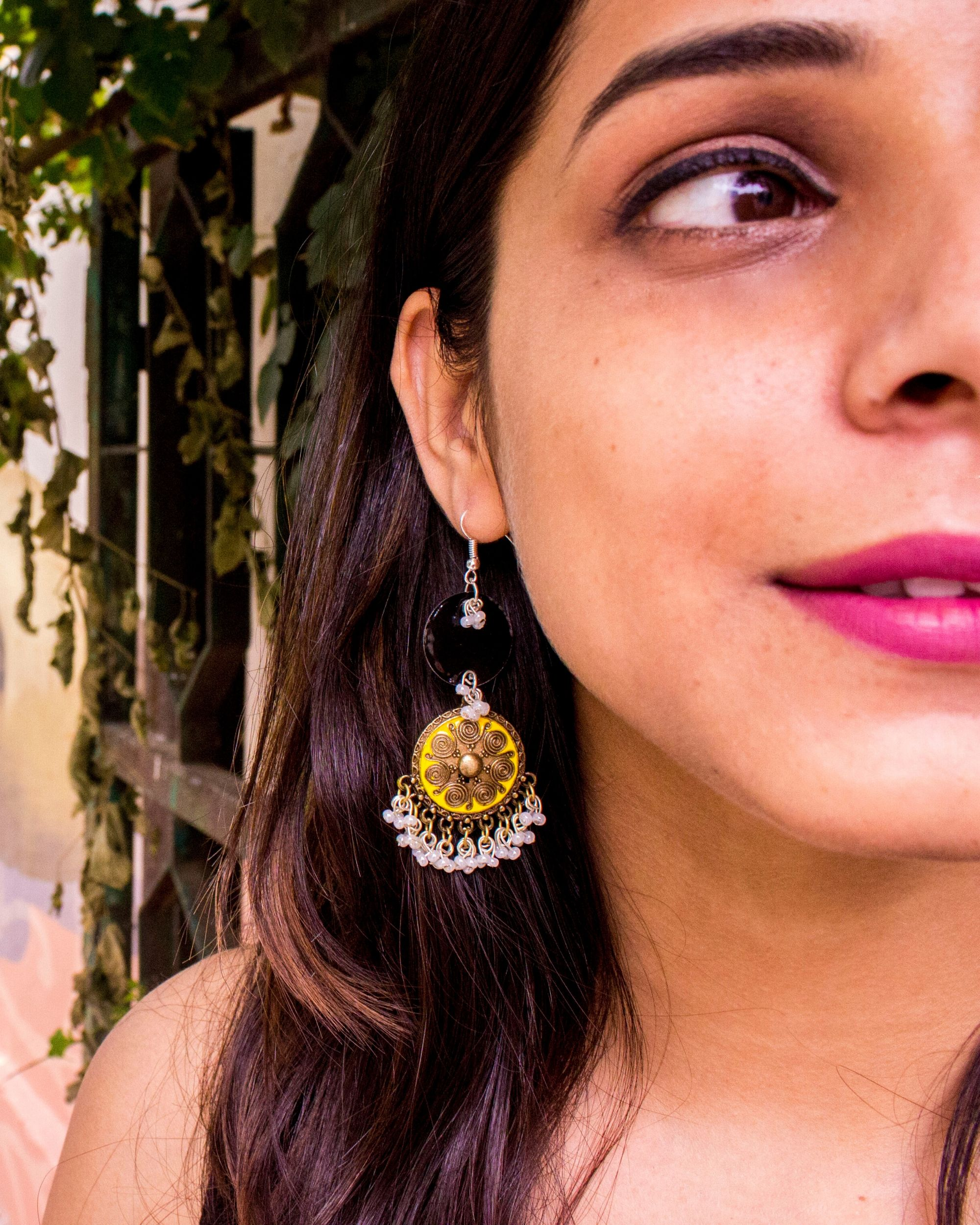 Black and yellow meenakari hook earrings