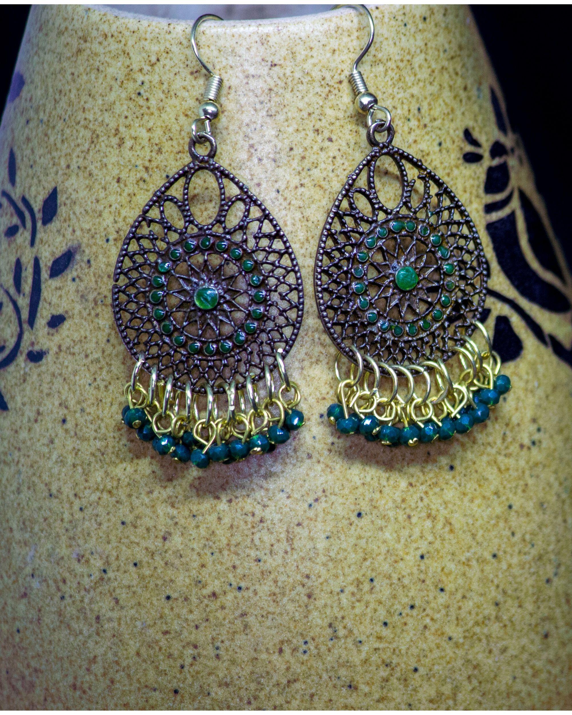 Teal blue and green jaali hook earrings