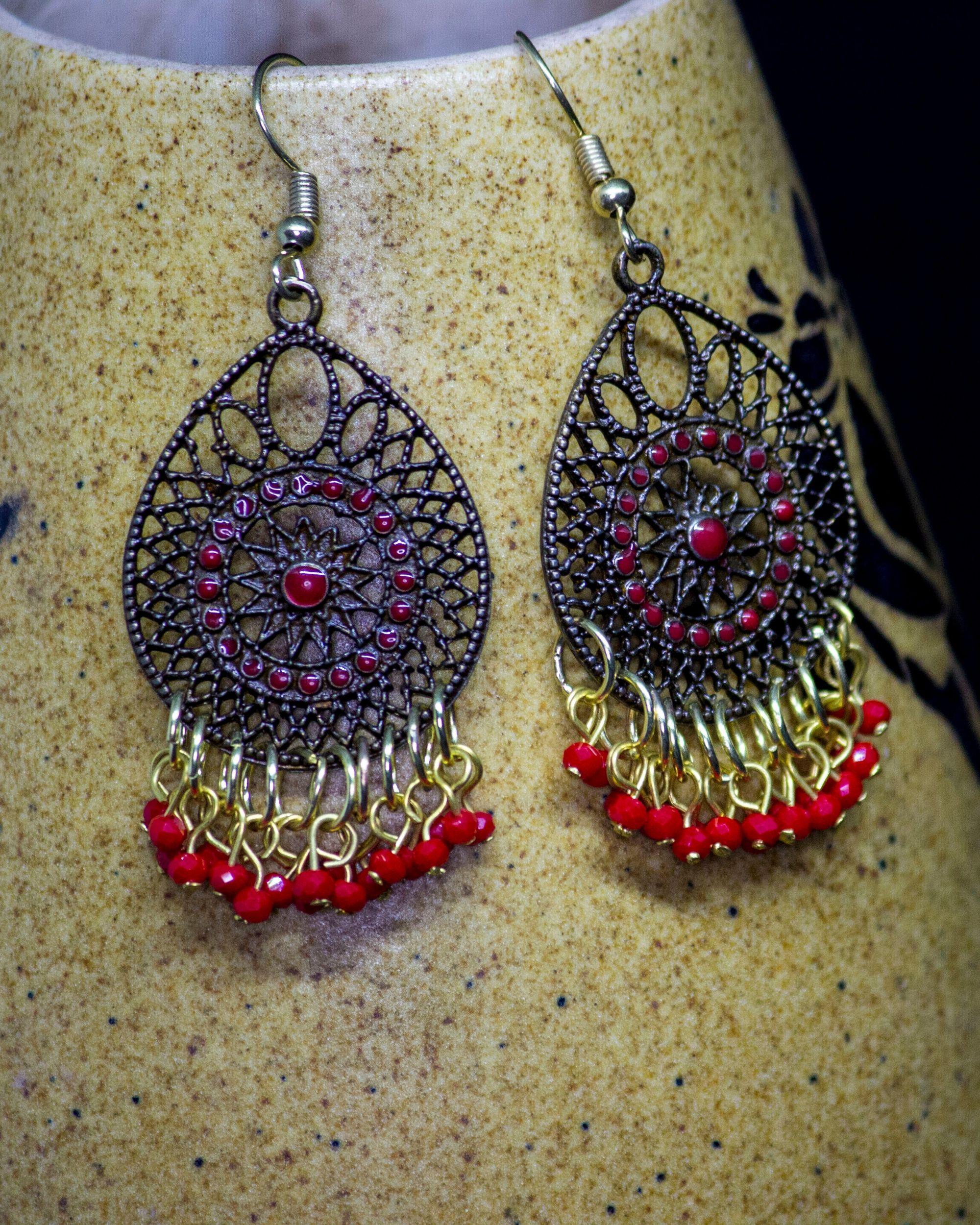 Red jaali hook earrings