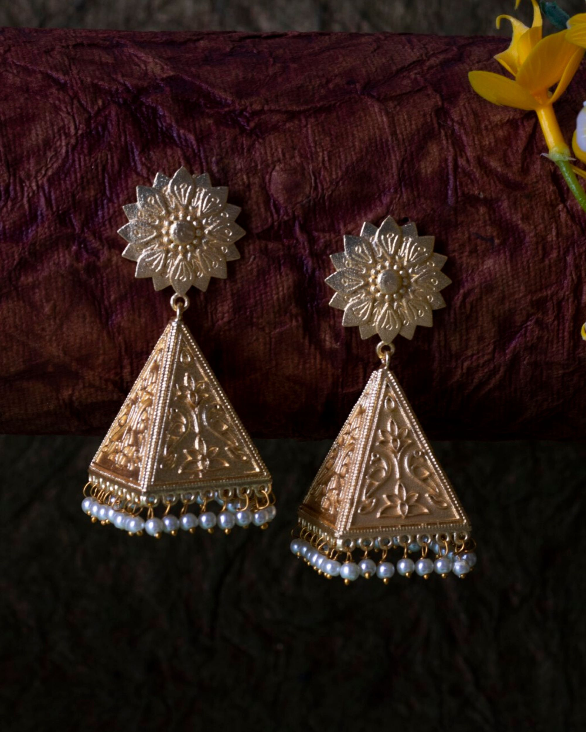 Pyramid jhumka with pearl beads