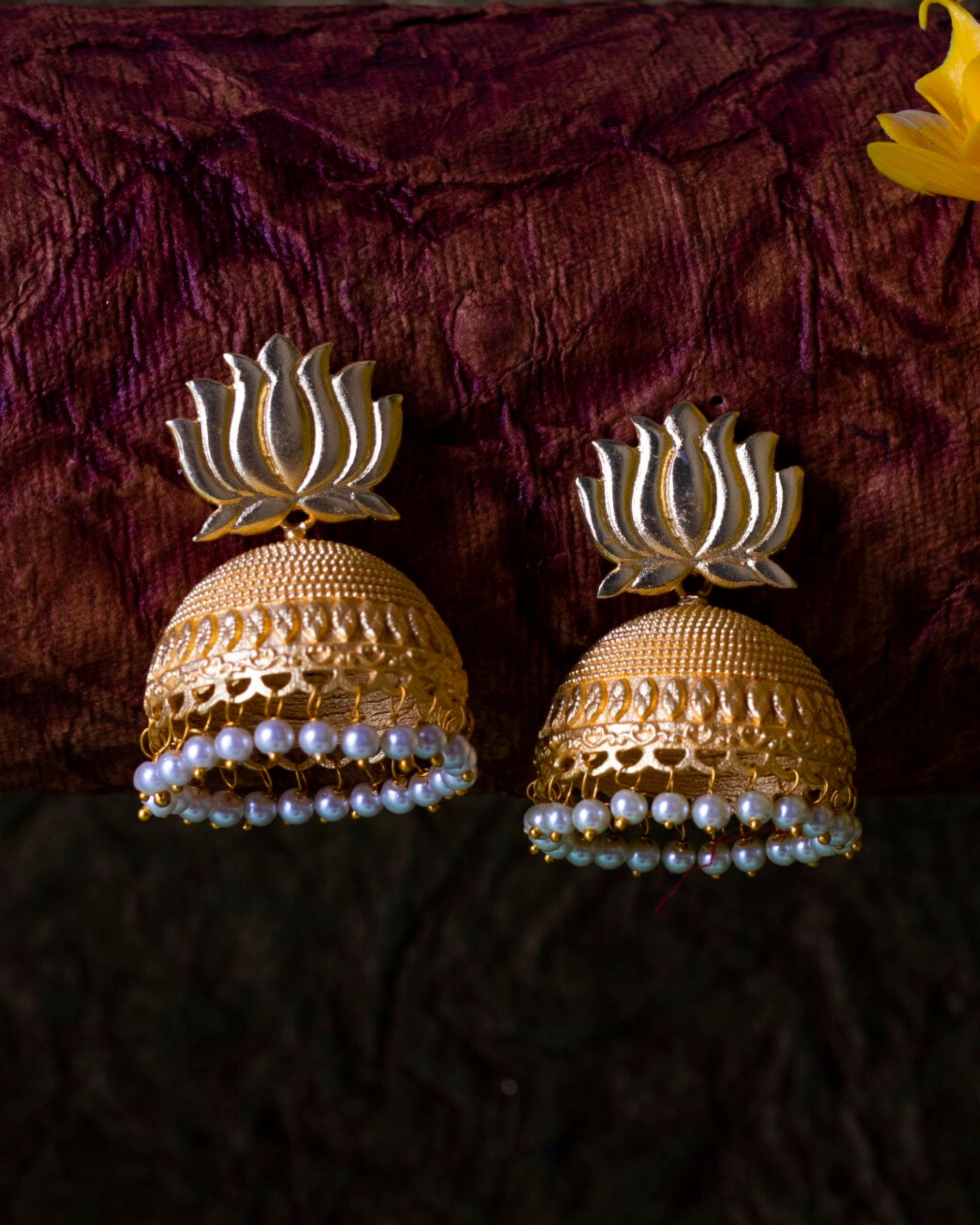 Lotus pearl beaded jhumka