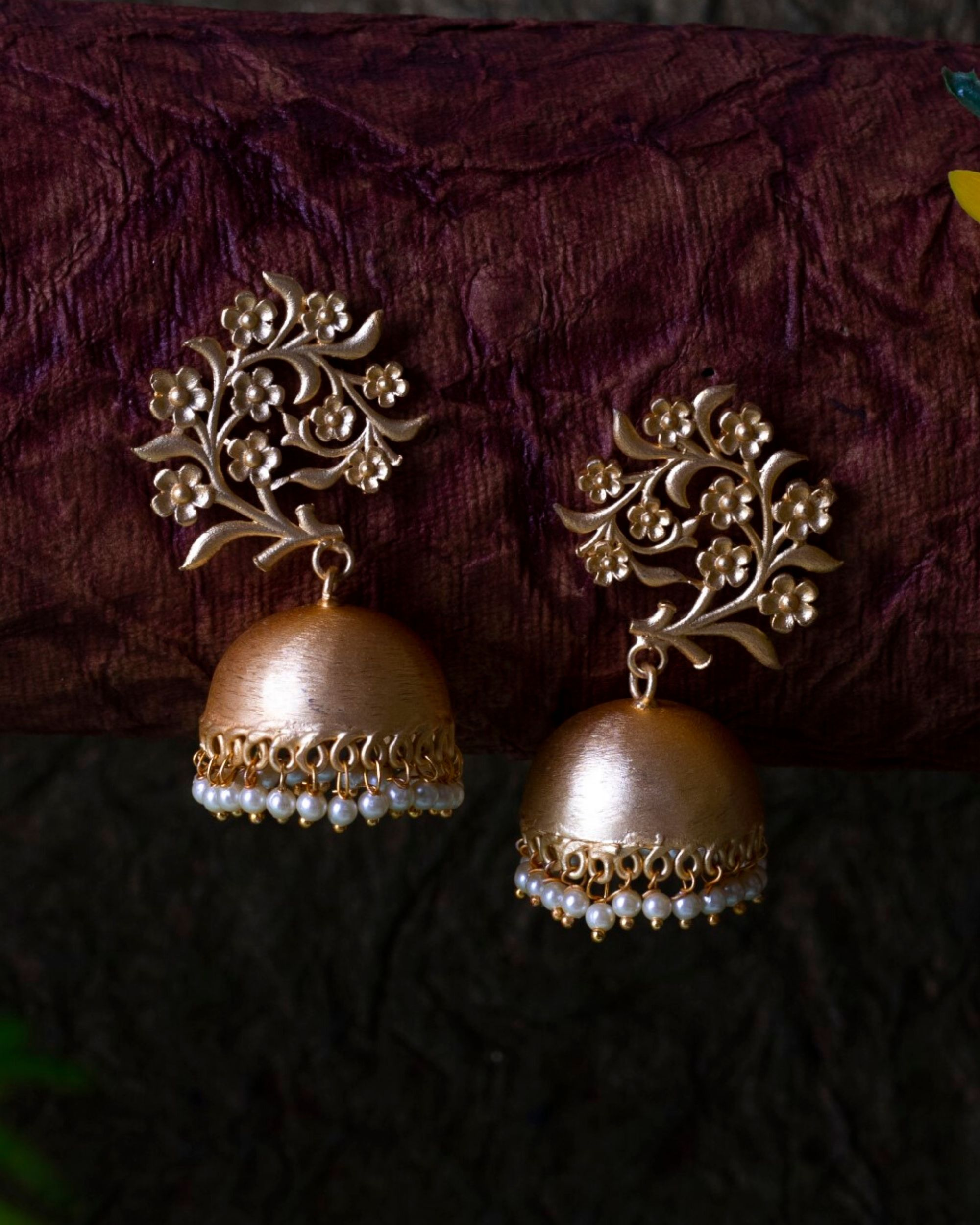 Garden jhumka with pearl beads