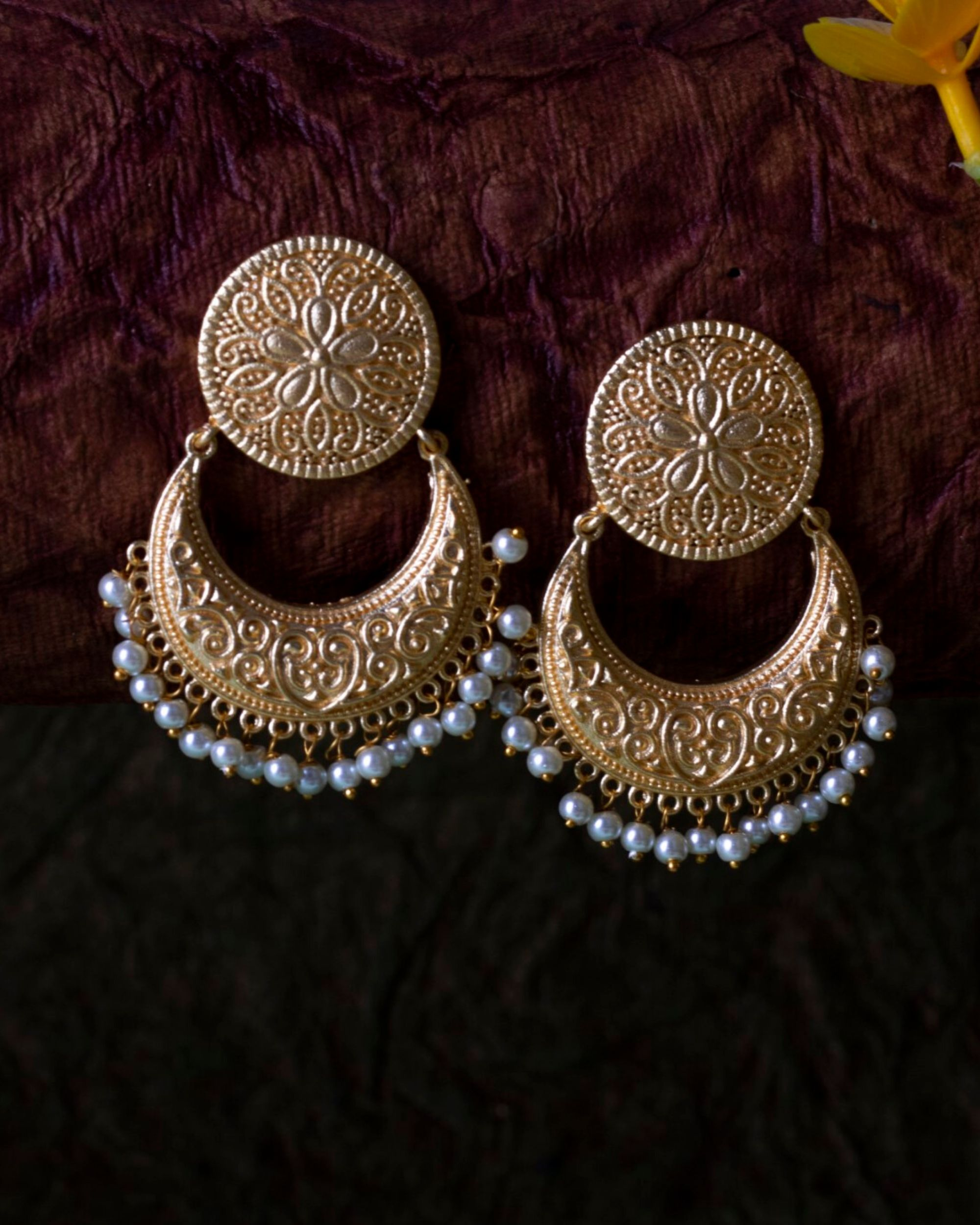 Floral motif chandbali with pearl beads