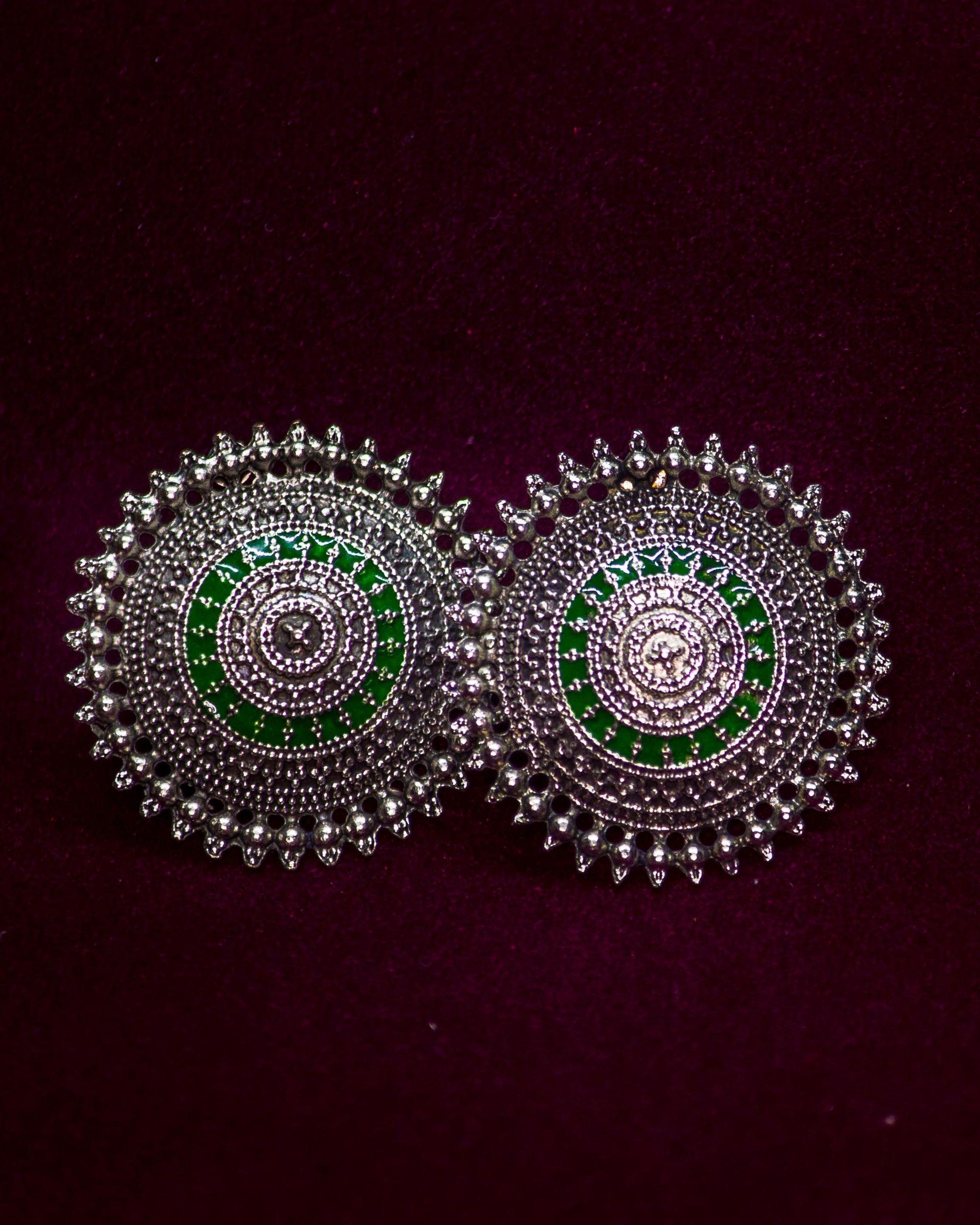 Emerald green meenakari hand painted studs