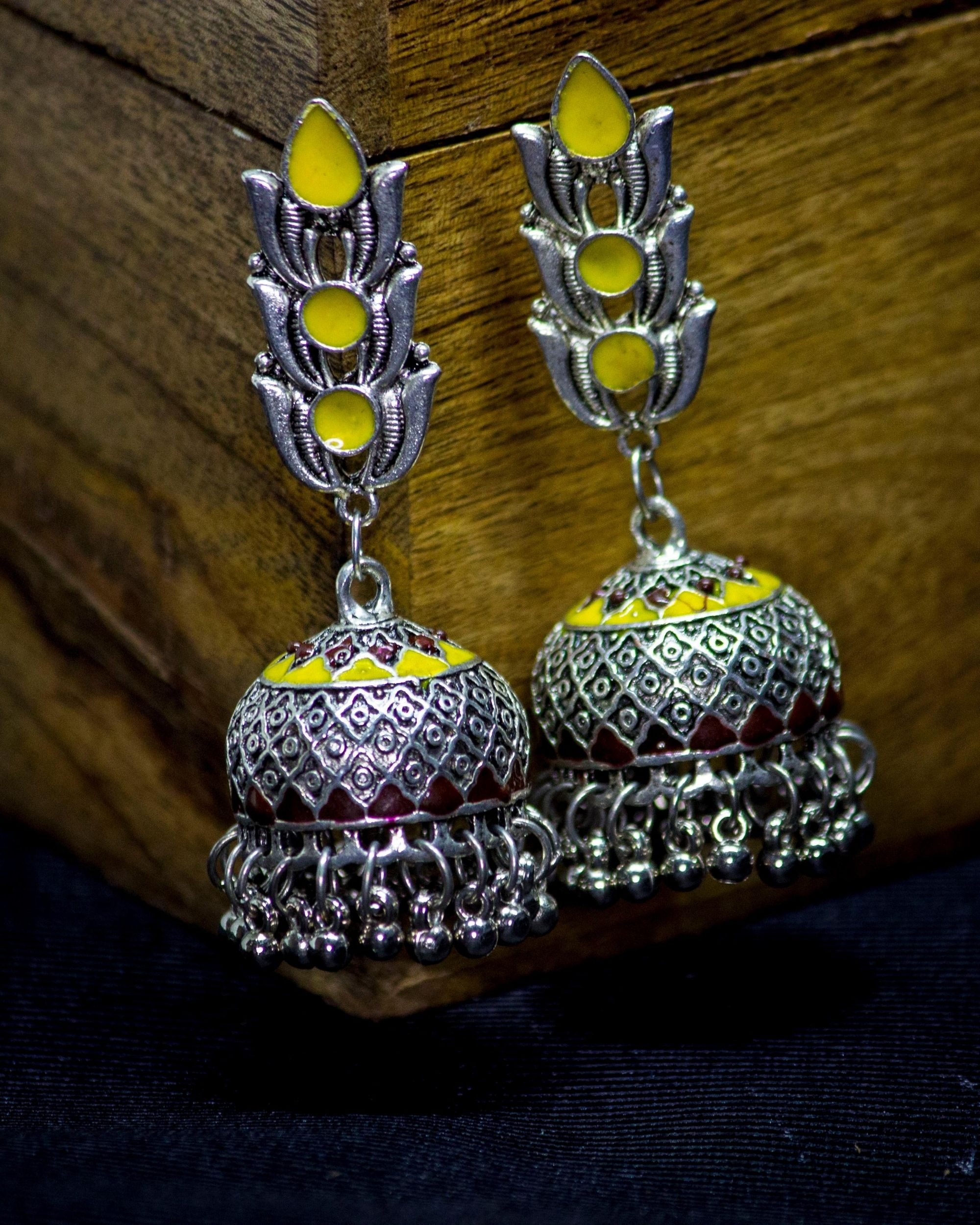 Yellow and red lotus motif jhumka
