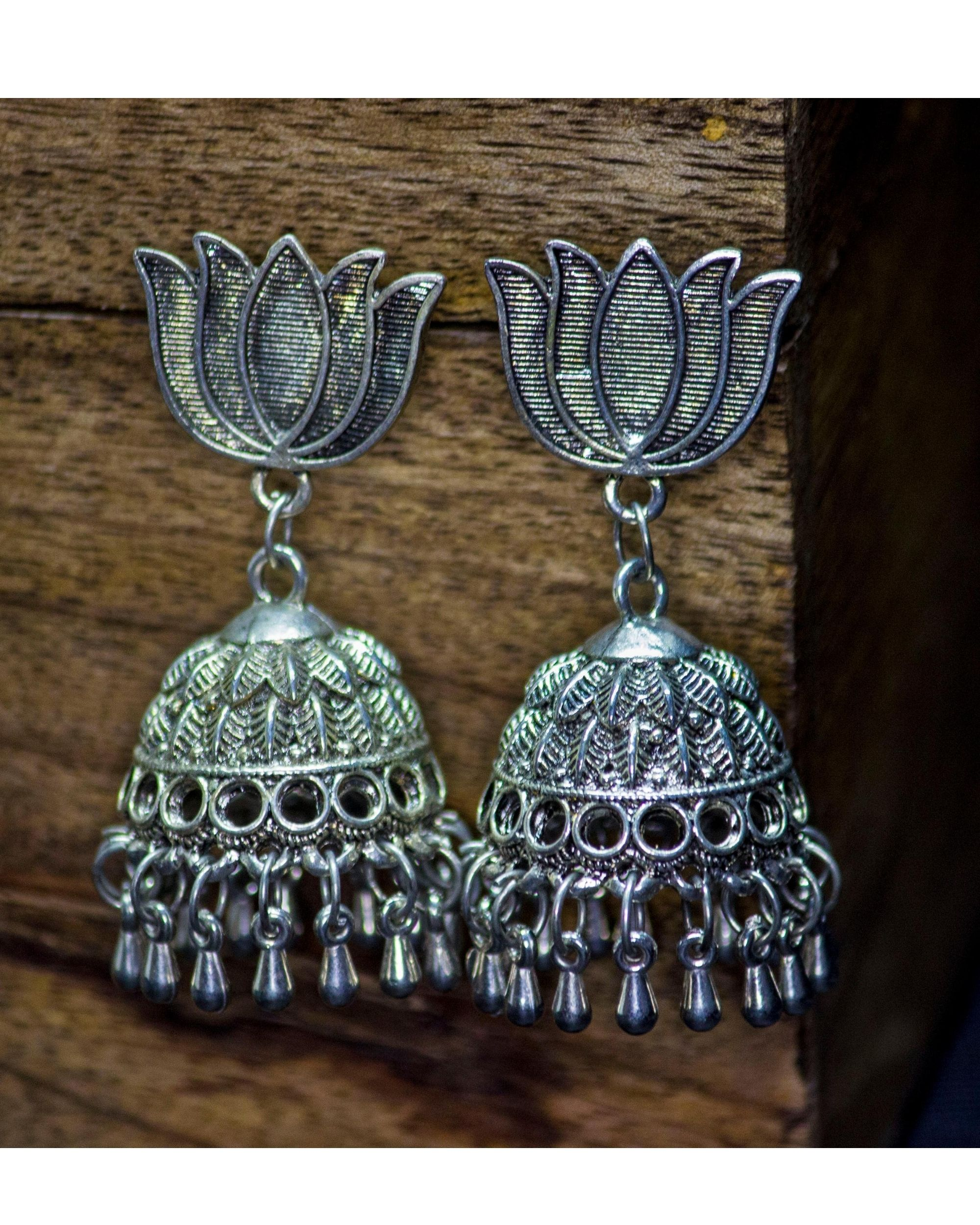 Lotus motif beaded jhumka