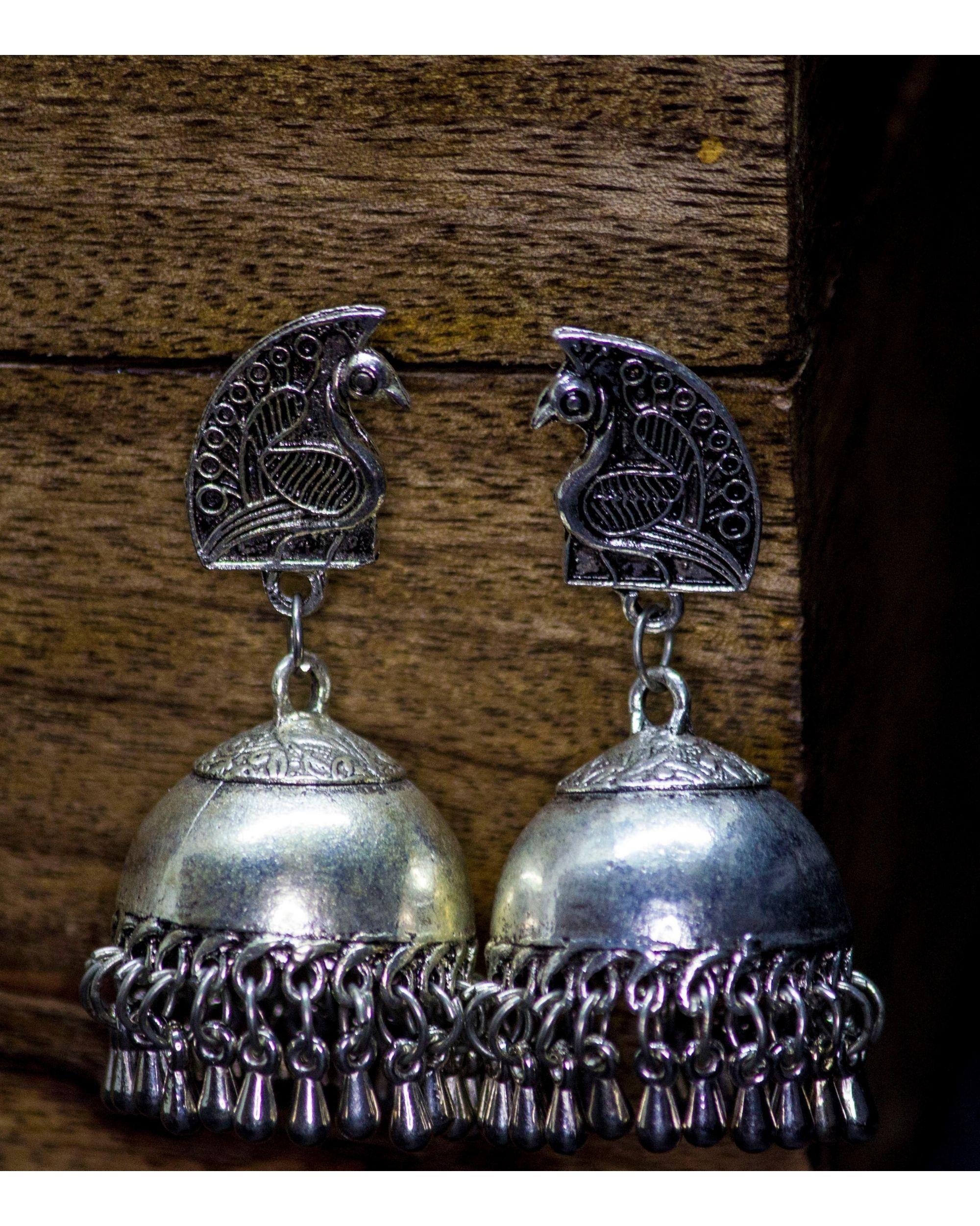Peacock studded earrings