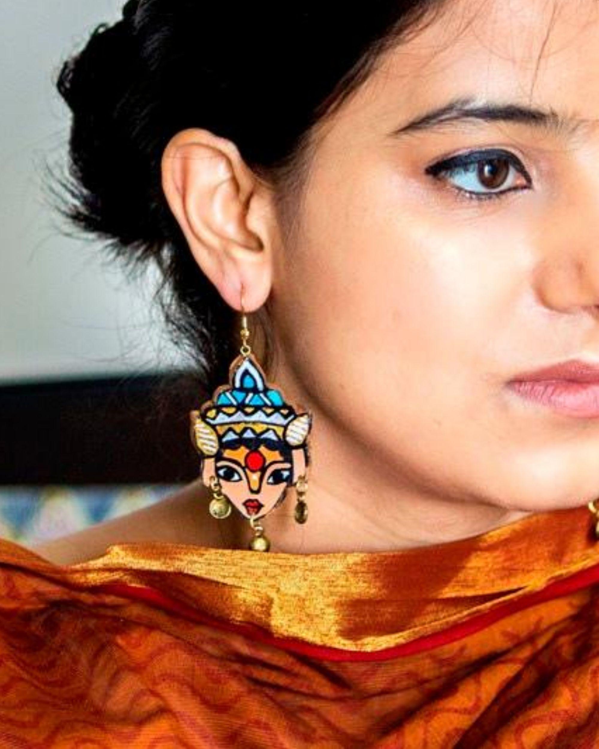 Deity motif terracotta dangler earring