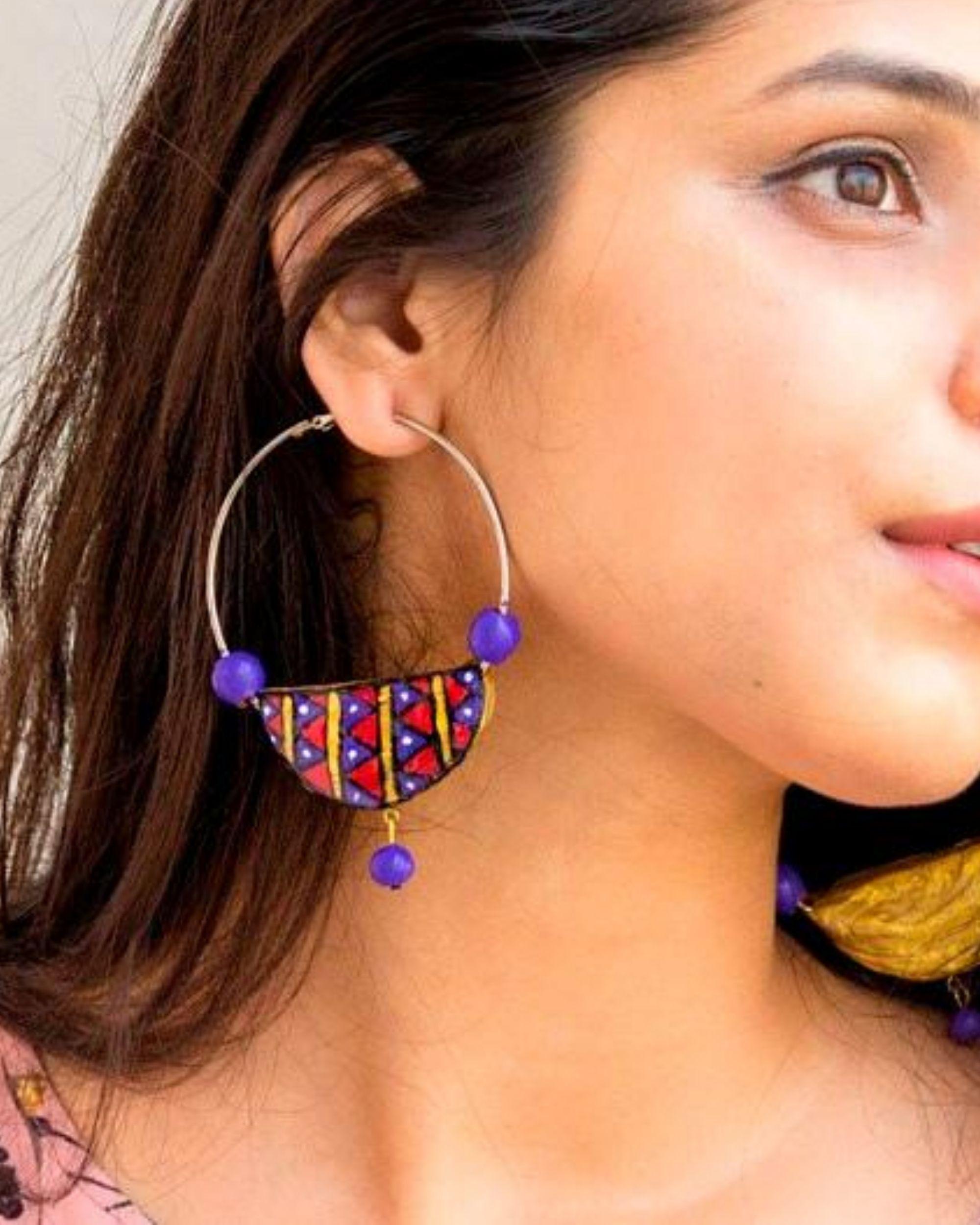 Boho terracotta hoop earring