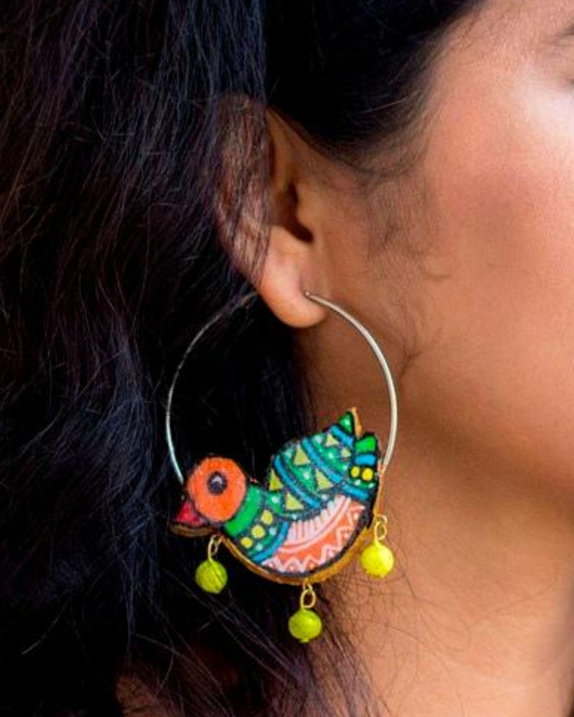 Bird motif terracotta hoop earring